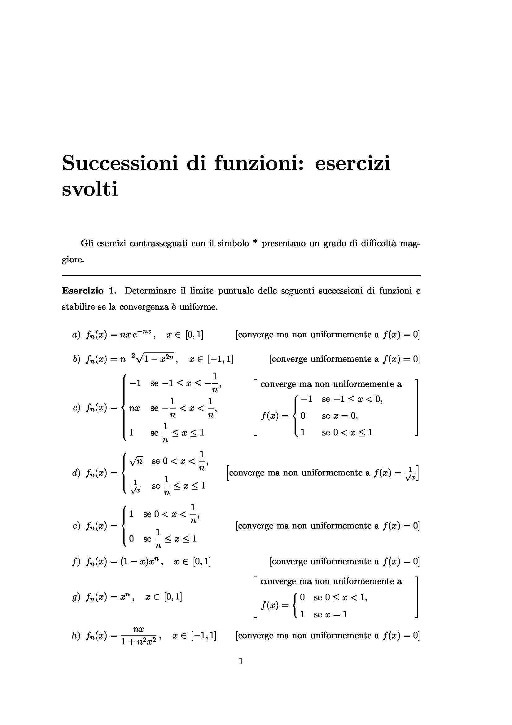 esercitazione F. Nicola Analisi Matematica II