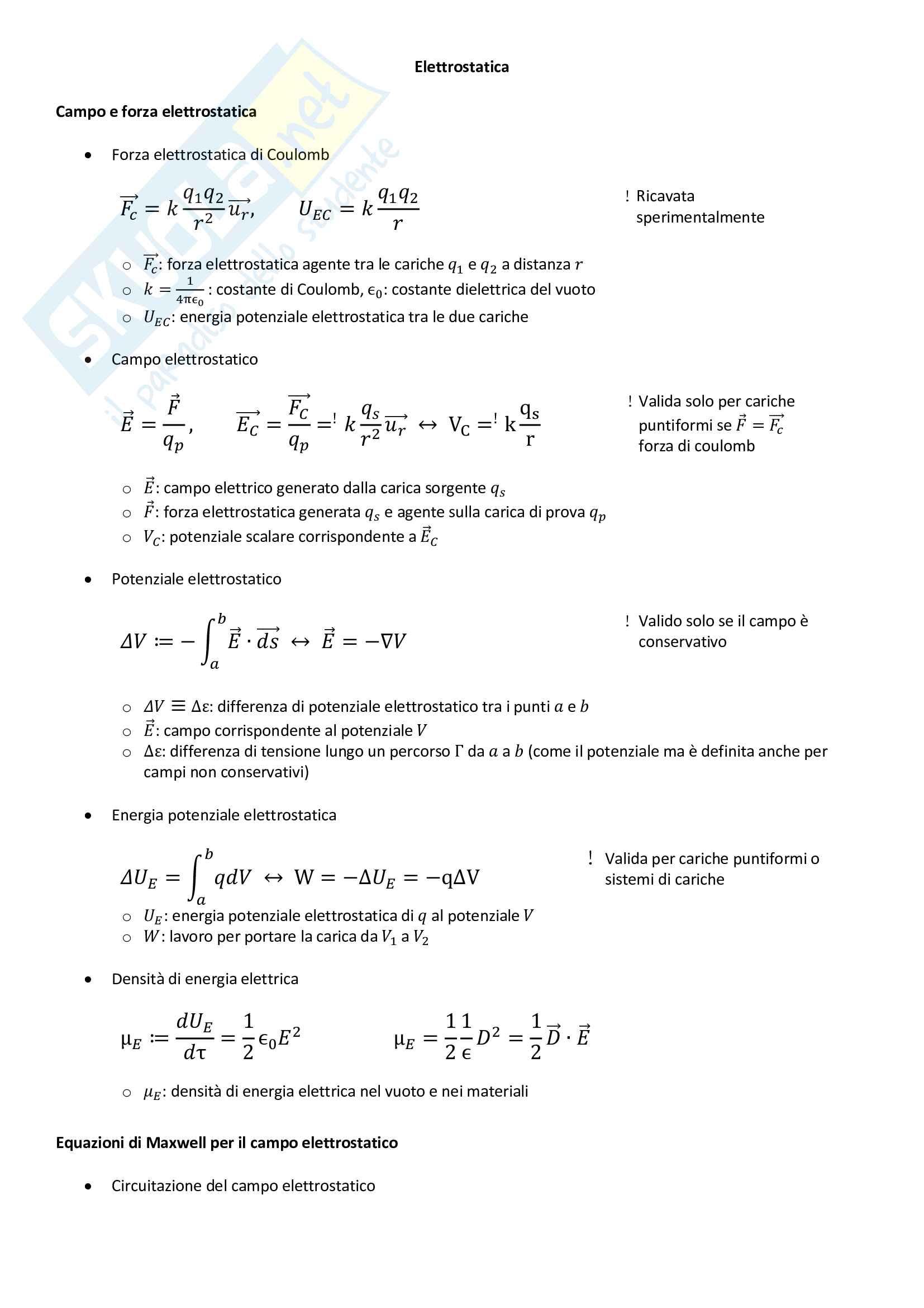 Formulario di Elettromagnetismo