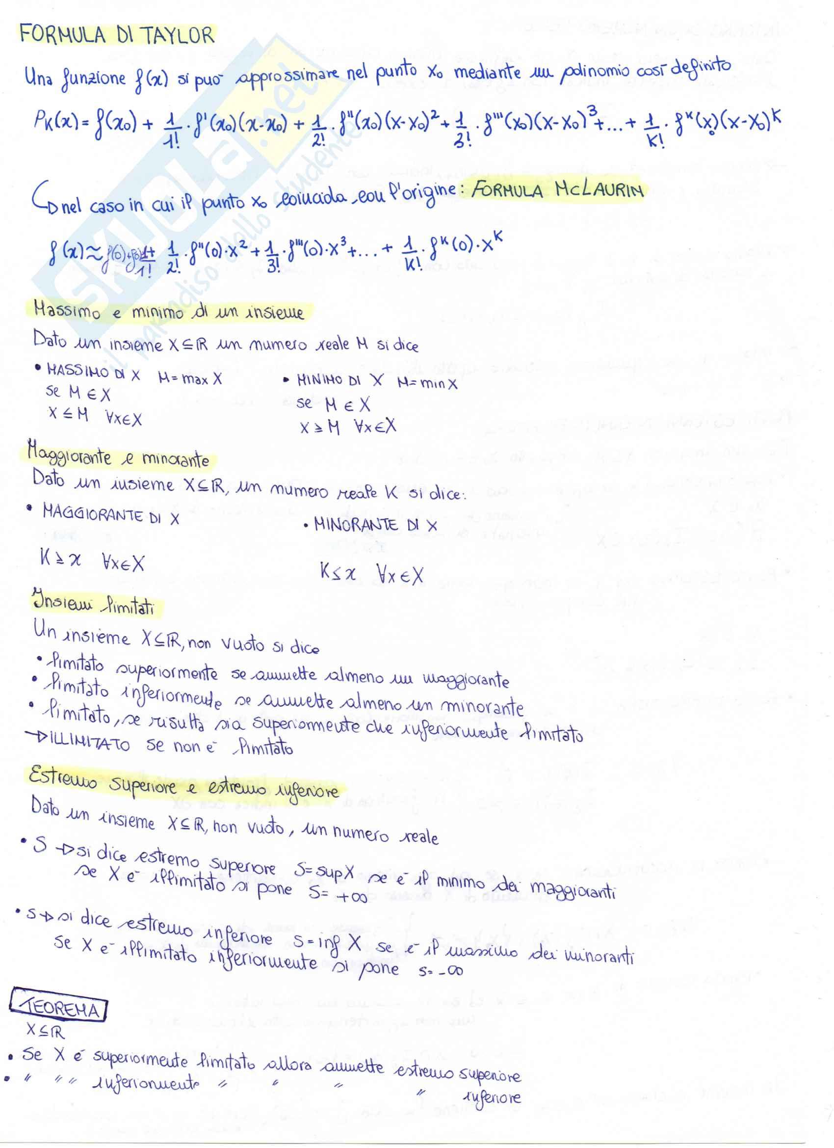 Appunti: Teoria di Matematica Generale