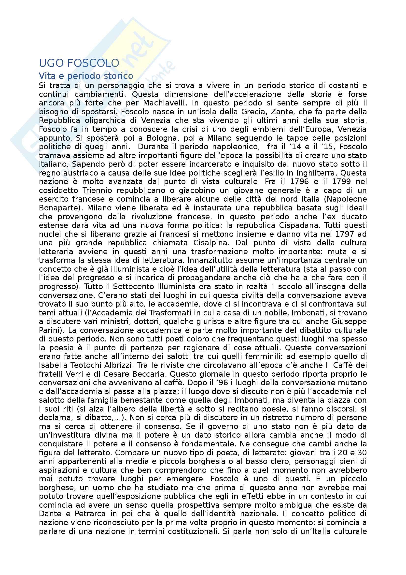 Appunti sul carme Dei Sepolcri di Foscolo