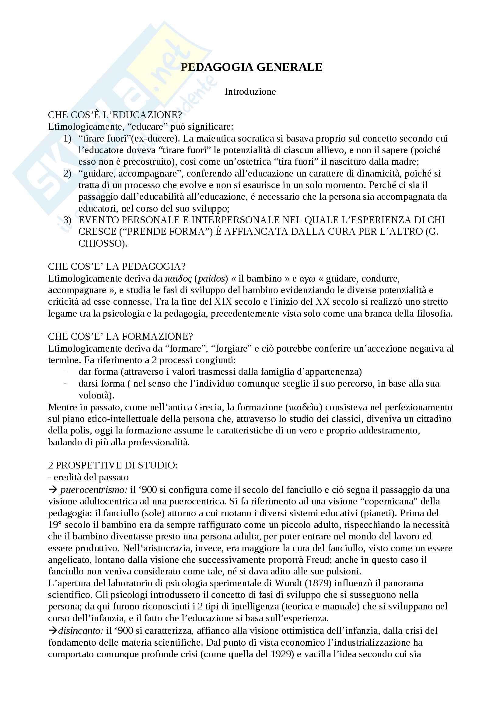 appunto V. Rossini Pedagogia generale