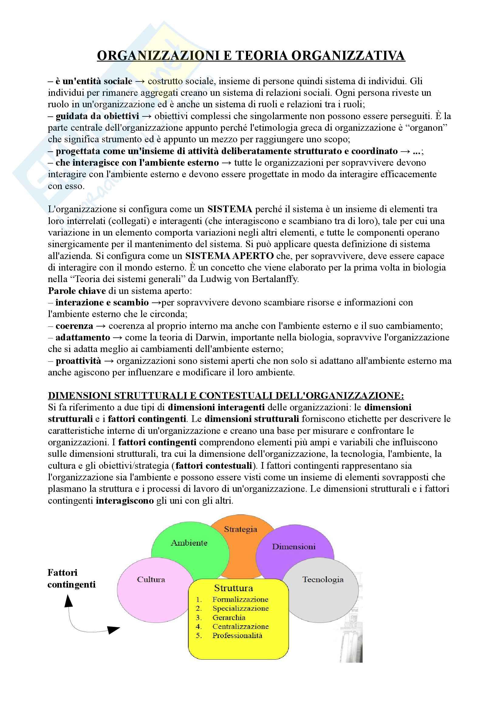 Riassunto esame organizzazione aziendale, prof. Isari
