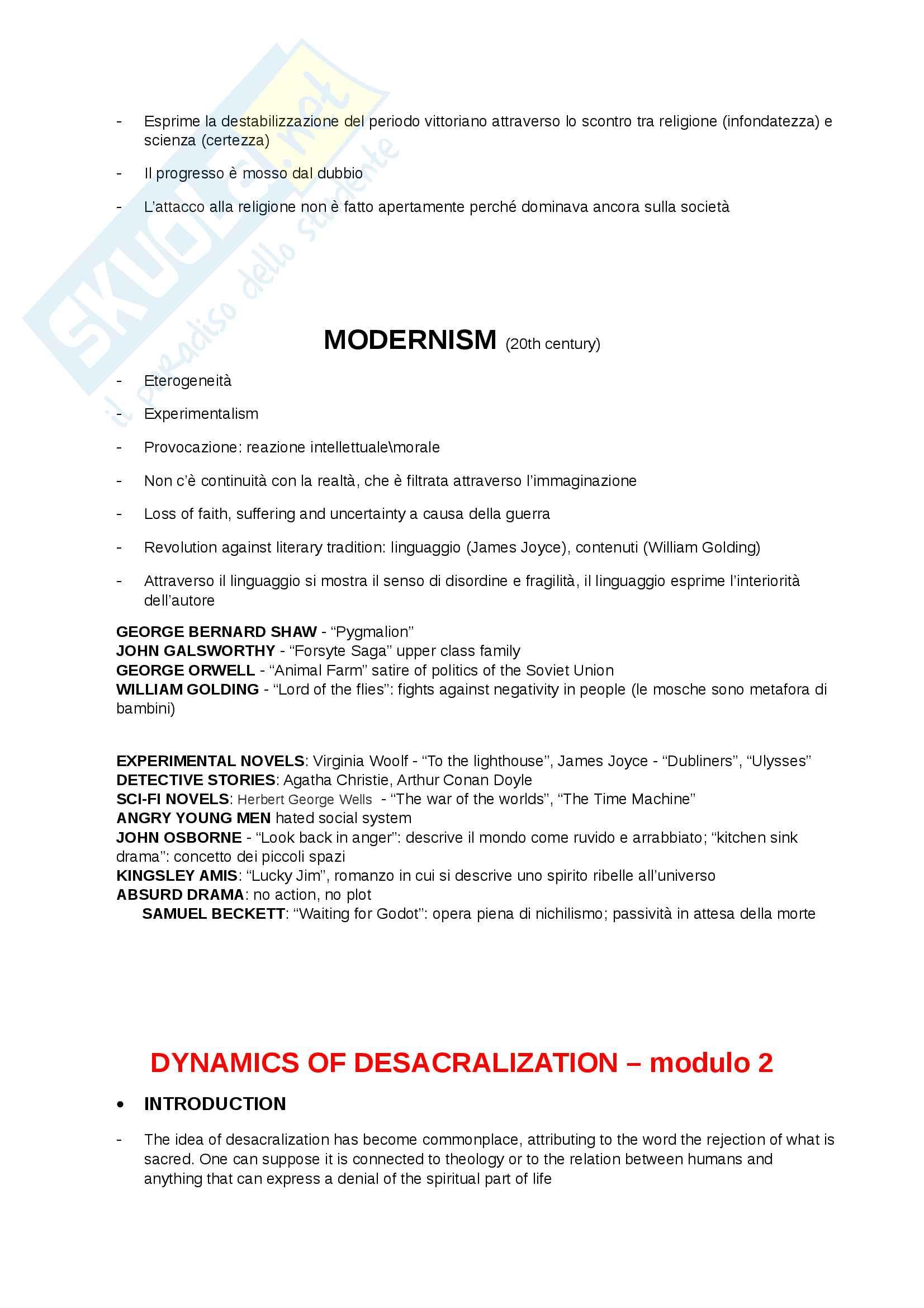 Riassunto esame Letteratura Inglese 2, prof. Partenza Pag. 2