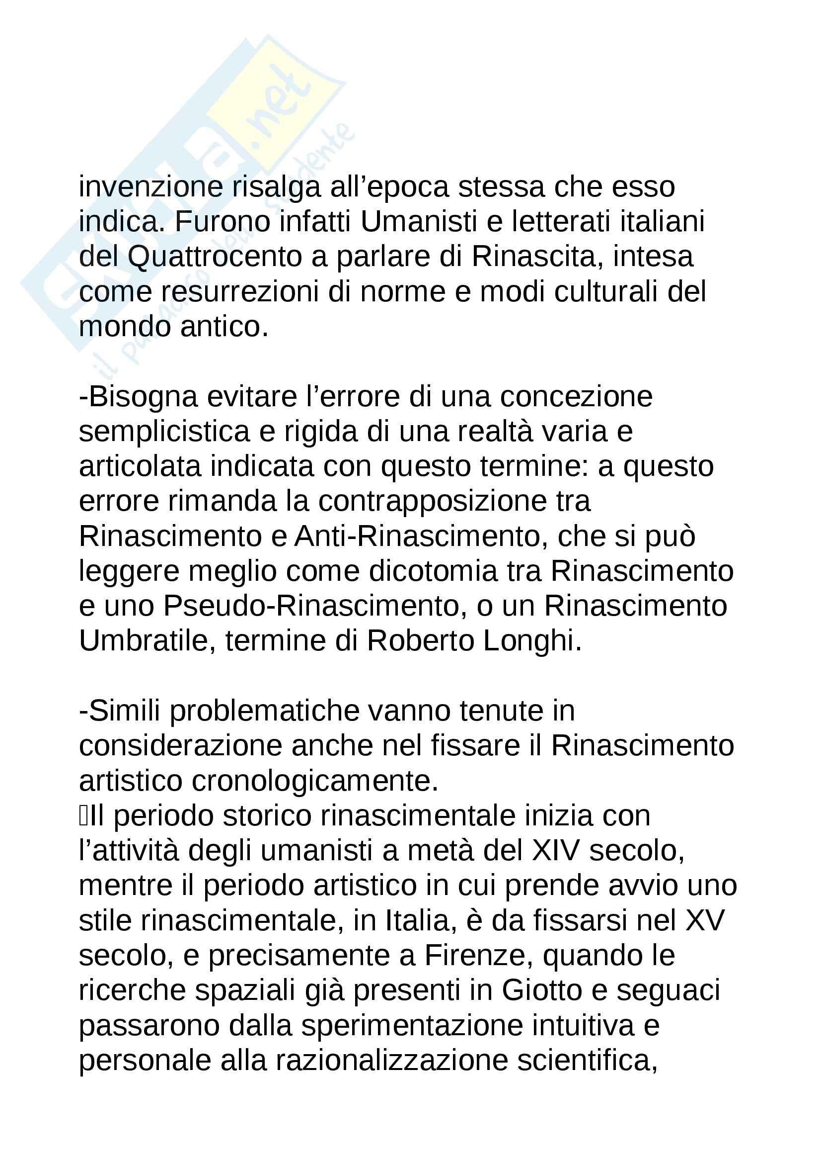 Riassunto esame Storia dell'Arte Moderna, prof. Benati, libro consigliato Rinascimento e Pseudorinascimento, Zeri