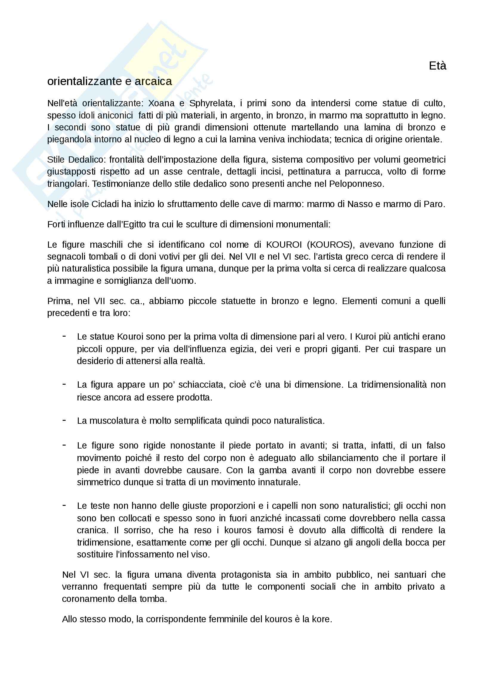 Riassunto esame Arte Greca, prof. Sacchi, libro consigliato Arte greca, Bejor Pag. 2