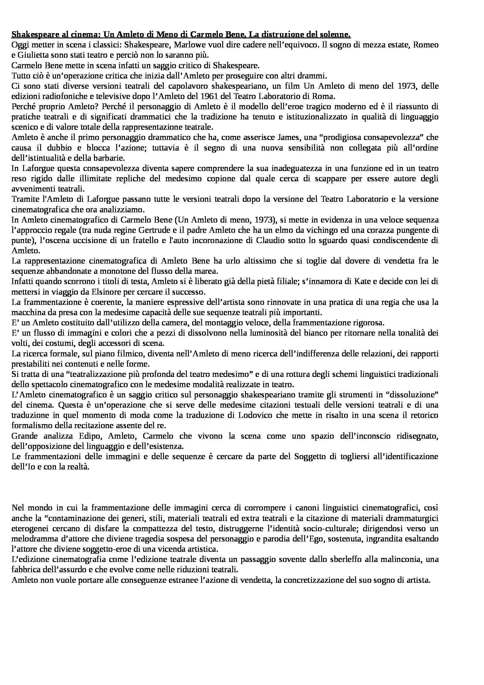 Storia del teatro e dello spettacolo - Un Amleto di Meno, Carmelo Bene