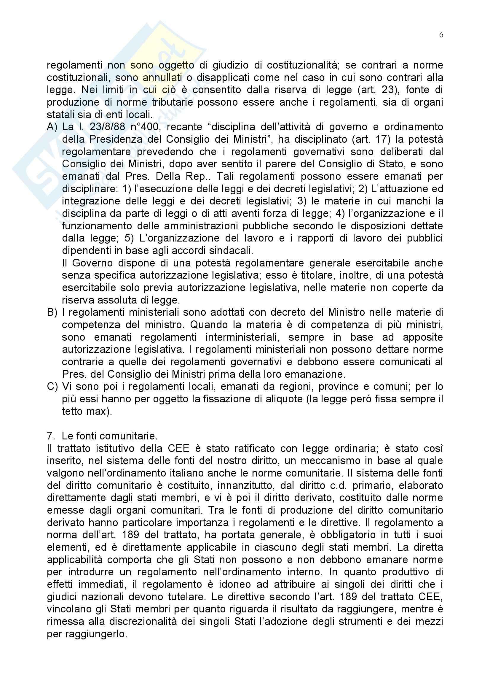 Riassunto esame Diritto Tributario, prof. Coppola, libro consigliato Istituzioni di Diritto Tributario, Tesauro Pag. 6