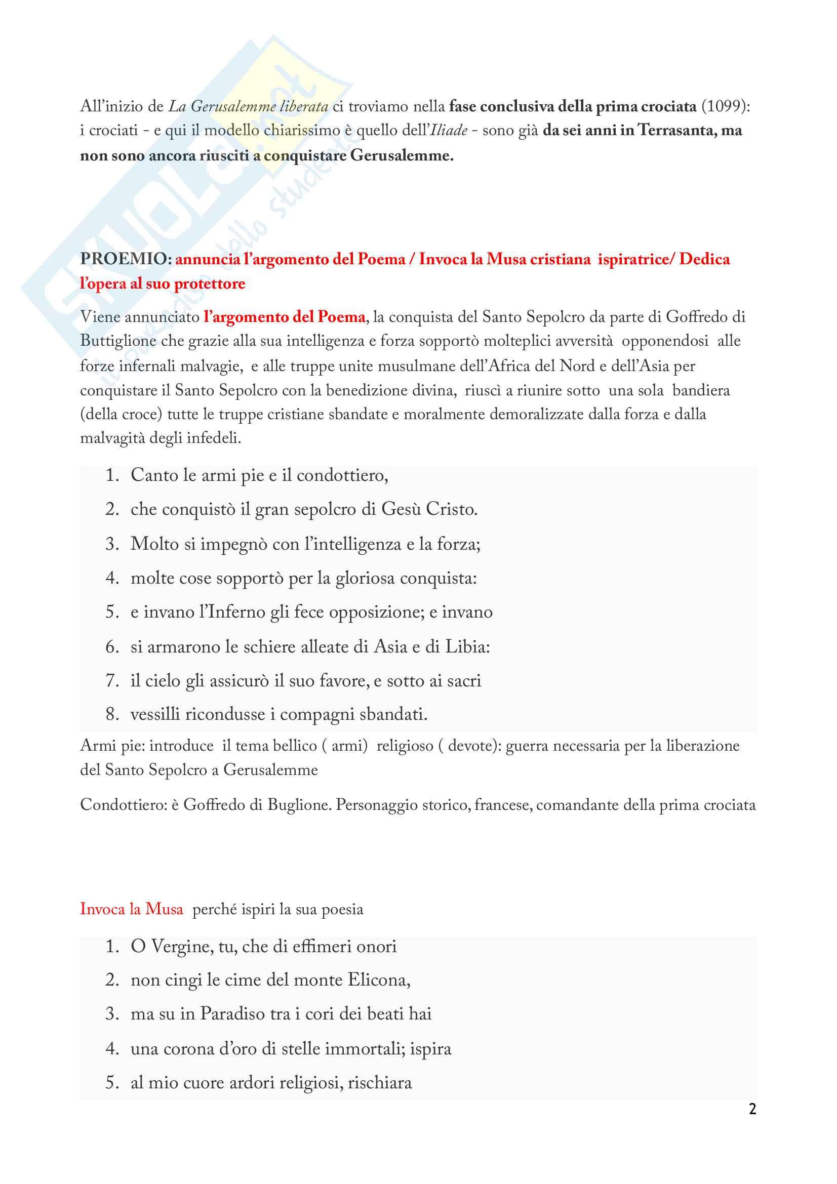 La Gerusalemme liberata - Riassunto, Analisi e Personaggi Pag. 2