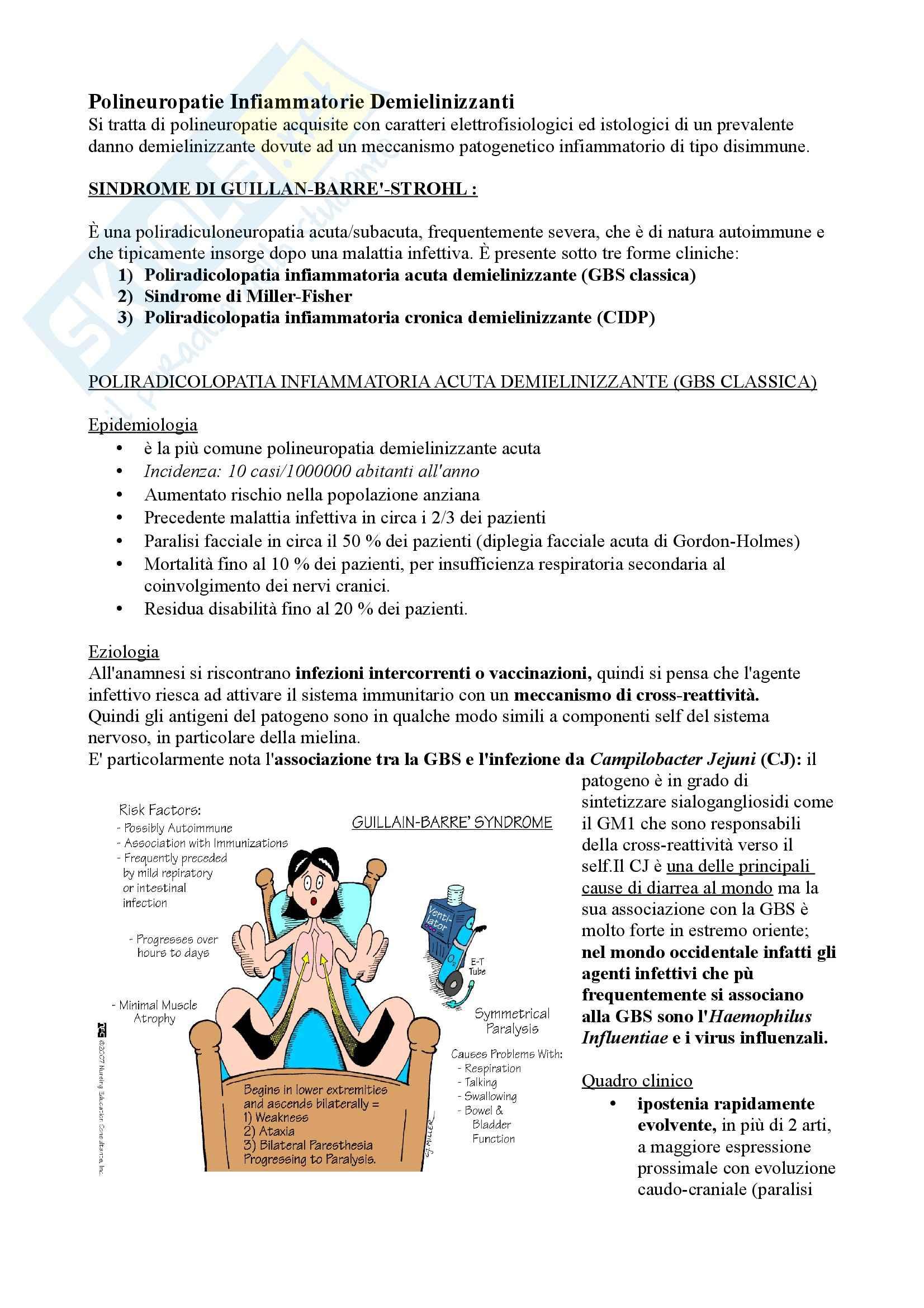 Patologie del Sistema Nervoso Periferico: Polineuropatie, Neurologia Pag. 6