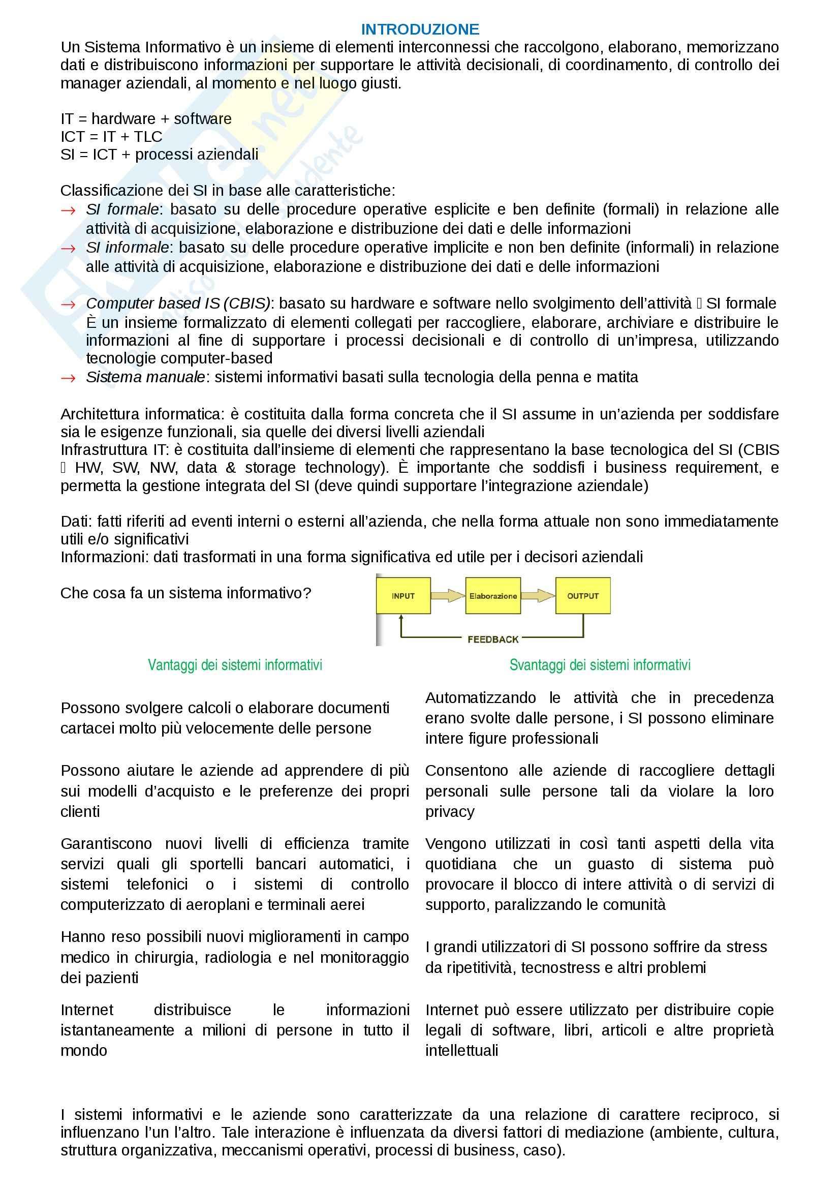 Riassunto esame Management dei sistemi informativi, prof. Morabito, libro consigliato Management dei sistemi informativi, Laudon