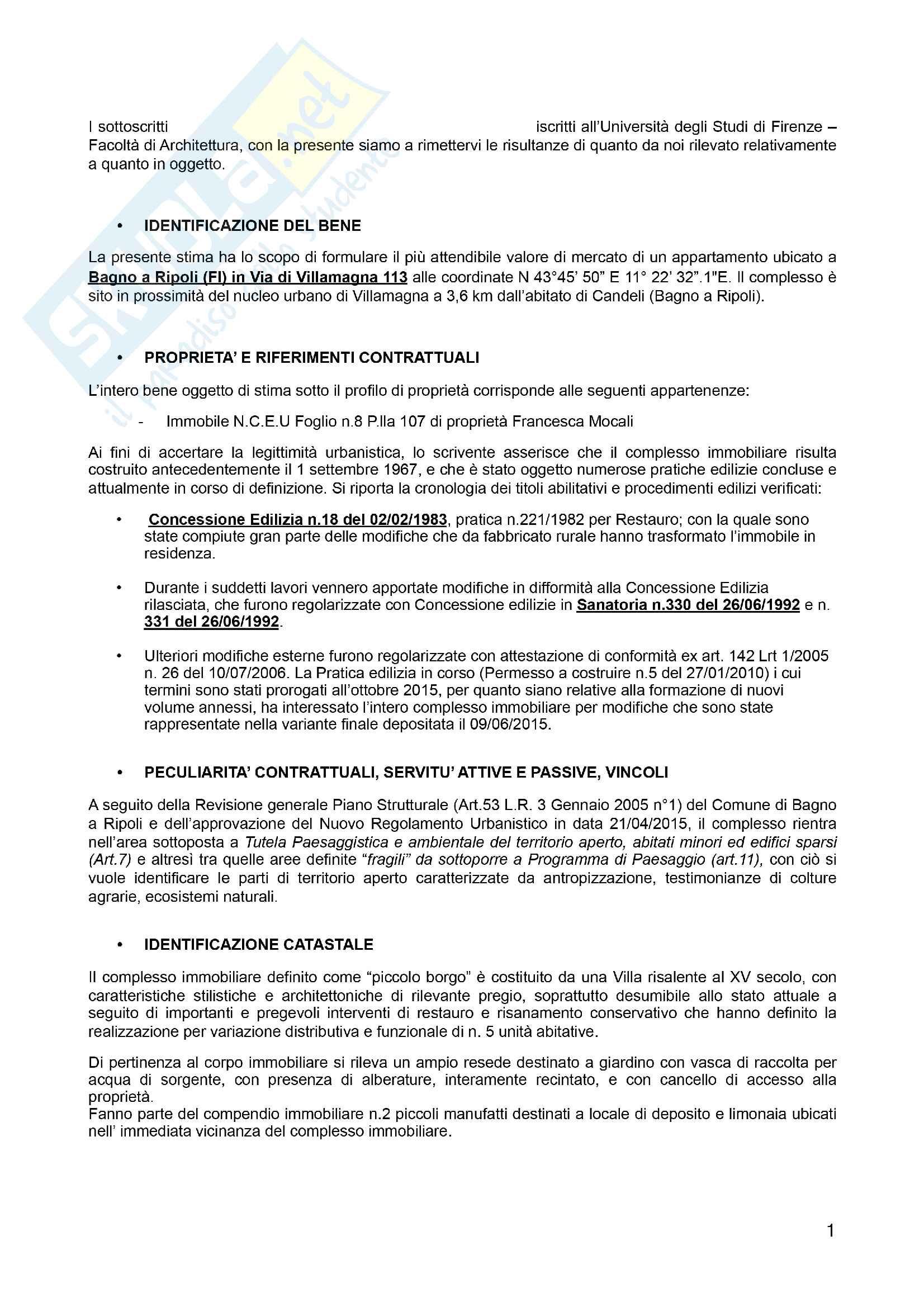 Estimo ed esercizio professionale - Stima di mercato Pag. 2