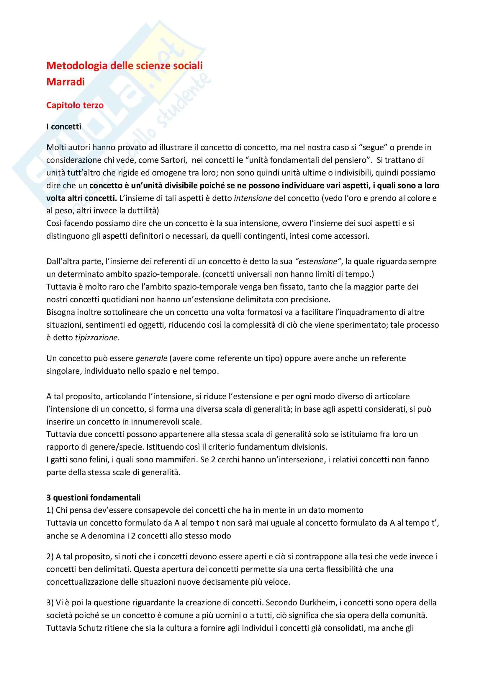Riassunto esame Metodologia, prof. Fasanella, libro consigliato Metodologia delle scienze sociali, Marradi