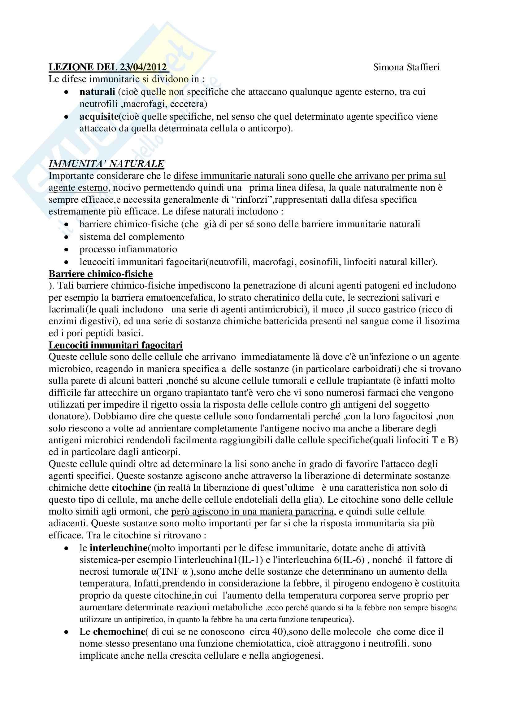 Fisiologia umana I - immunità, coagulazione e piastrine