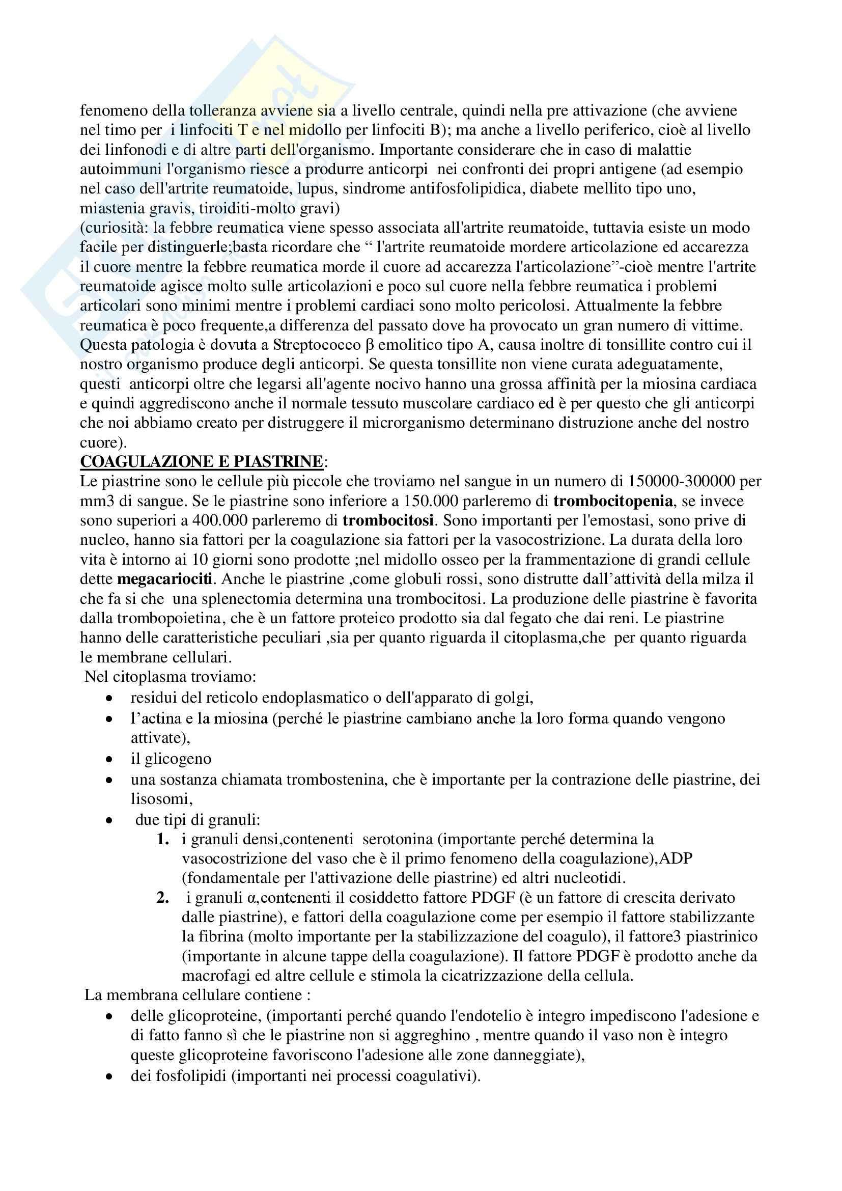 Fisiologia umana I - immunità, coagulazione e piastrine Pag. 6