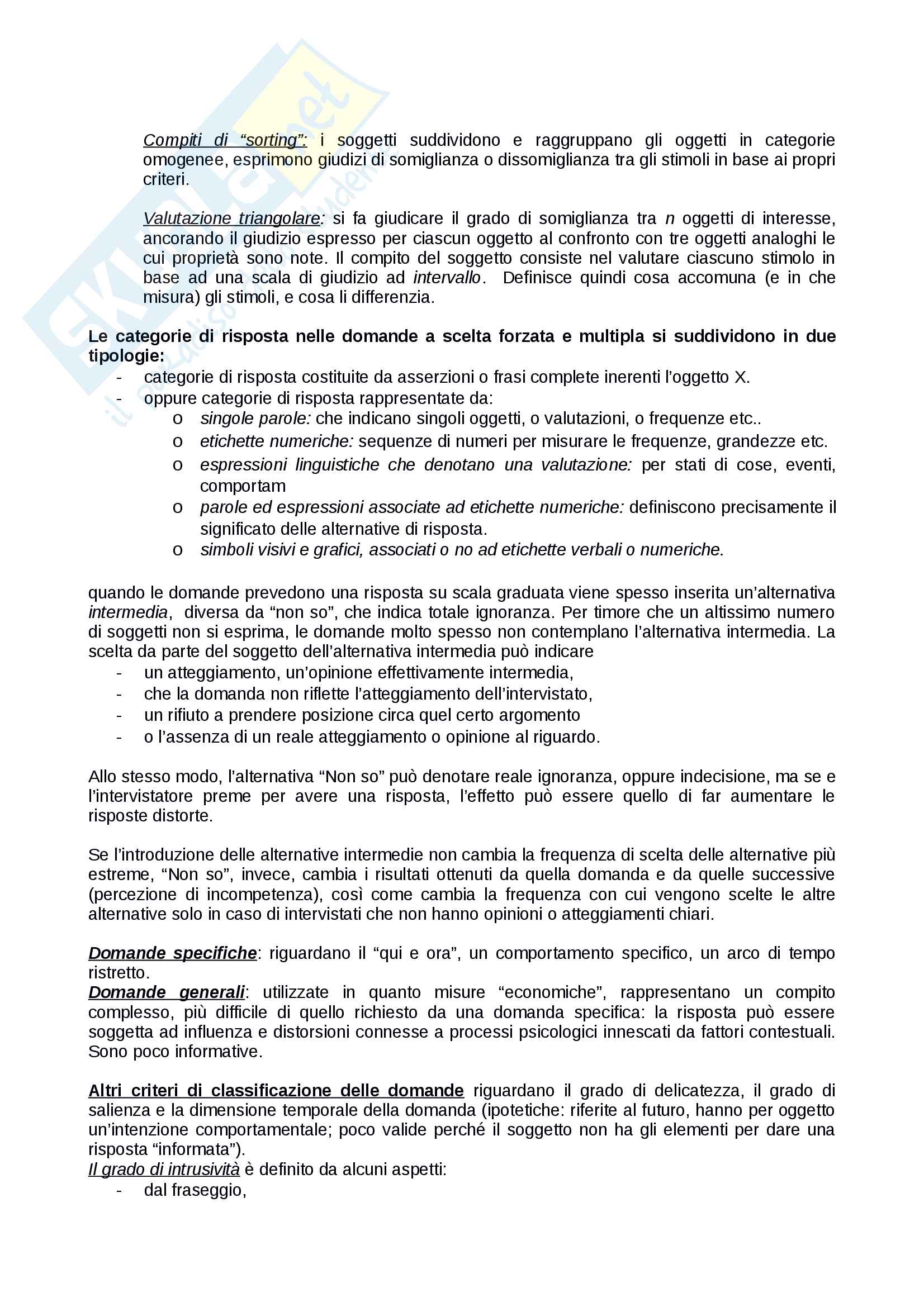 Riassunto esame Tecniche del Questionario, prof.ssa Zammuner, testo consigliato Tecniche del Questionario Pag. 11