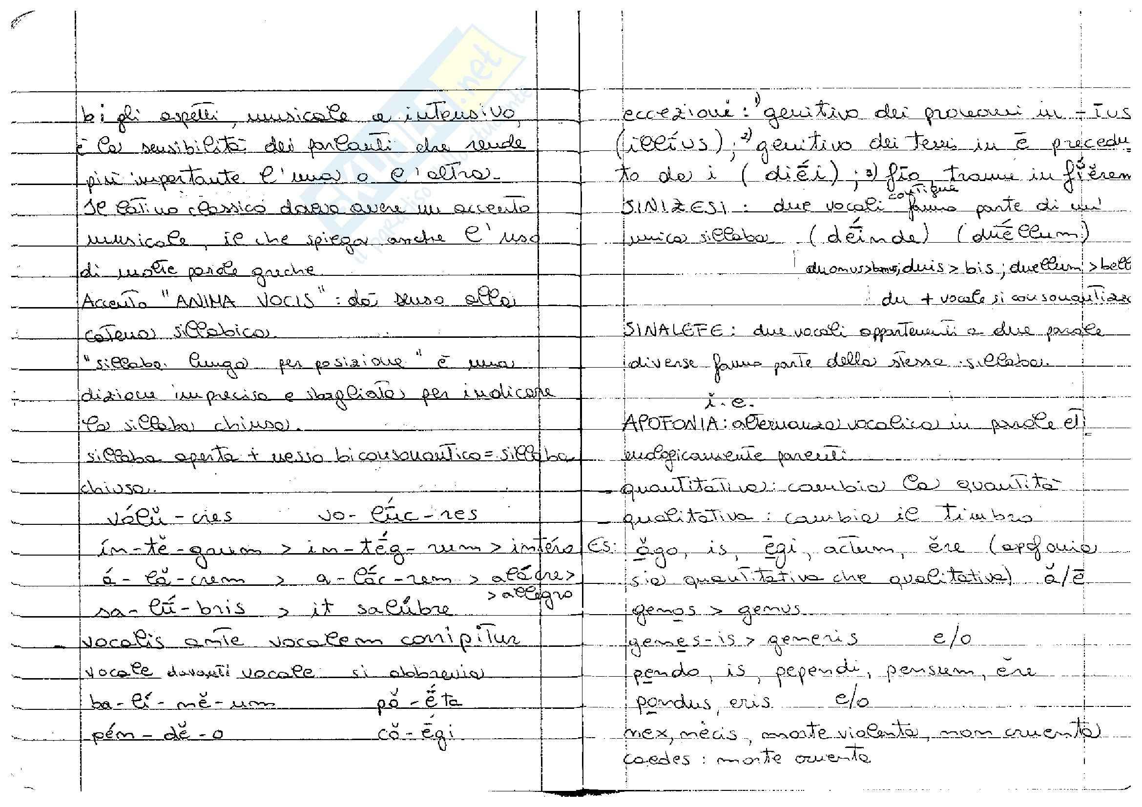 appunto C. Braidotti Lingua latina