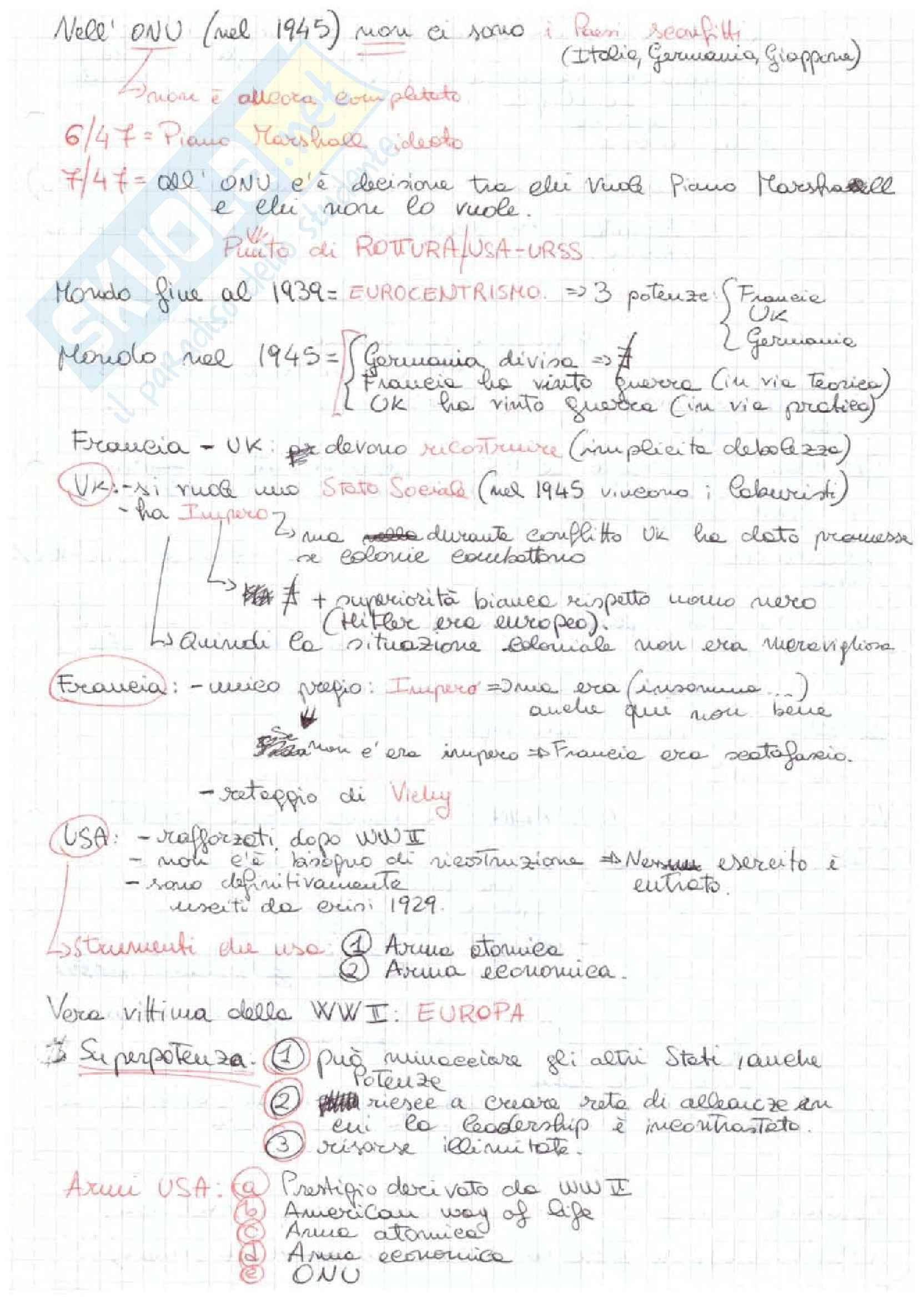 Storia delle Relazioni Internazionali - Appunti Pag. 41