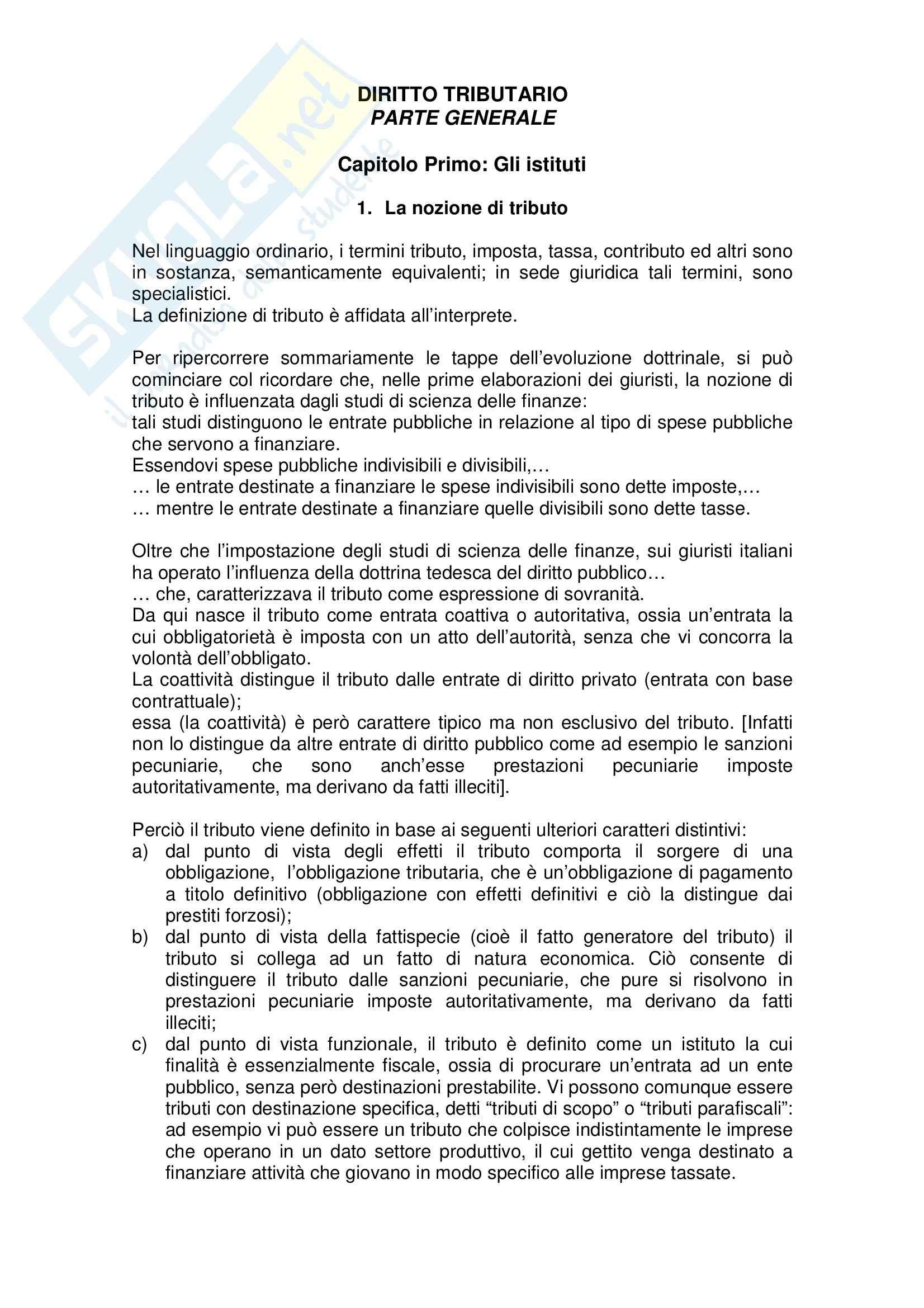 Riassunto esame Diritto Tributario, prof. Marello, libro consigliato Compendio di Diritto Tributario, Tesauro