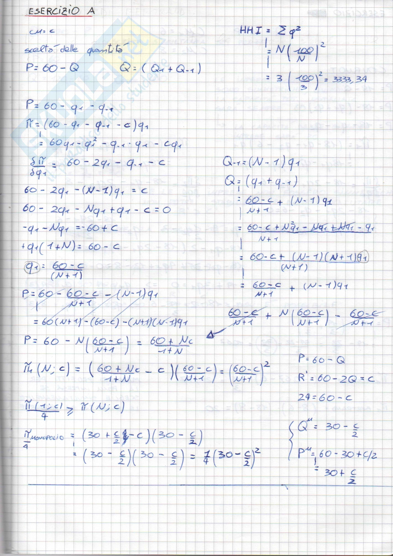 Esercizi esame di economia industriale, prof. Roson R.
