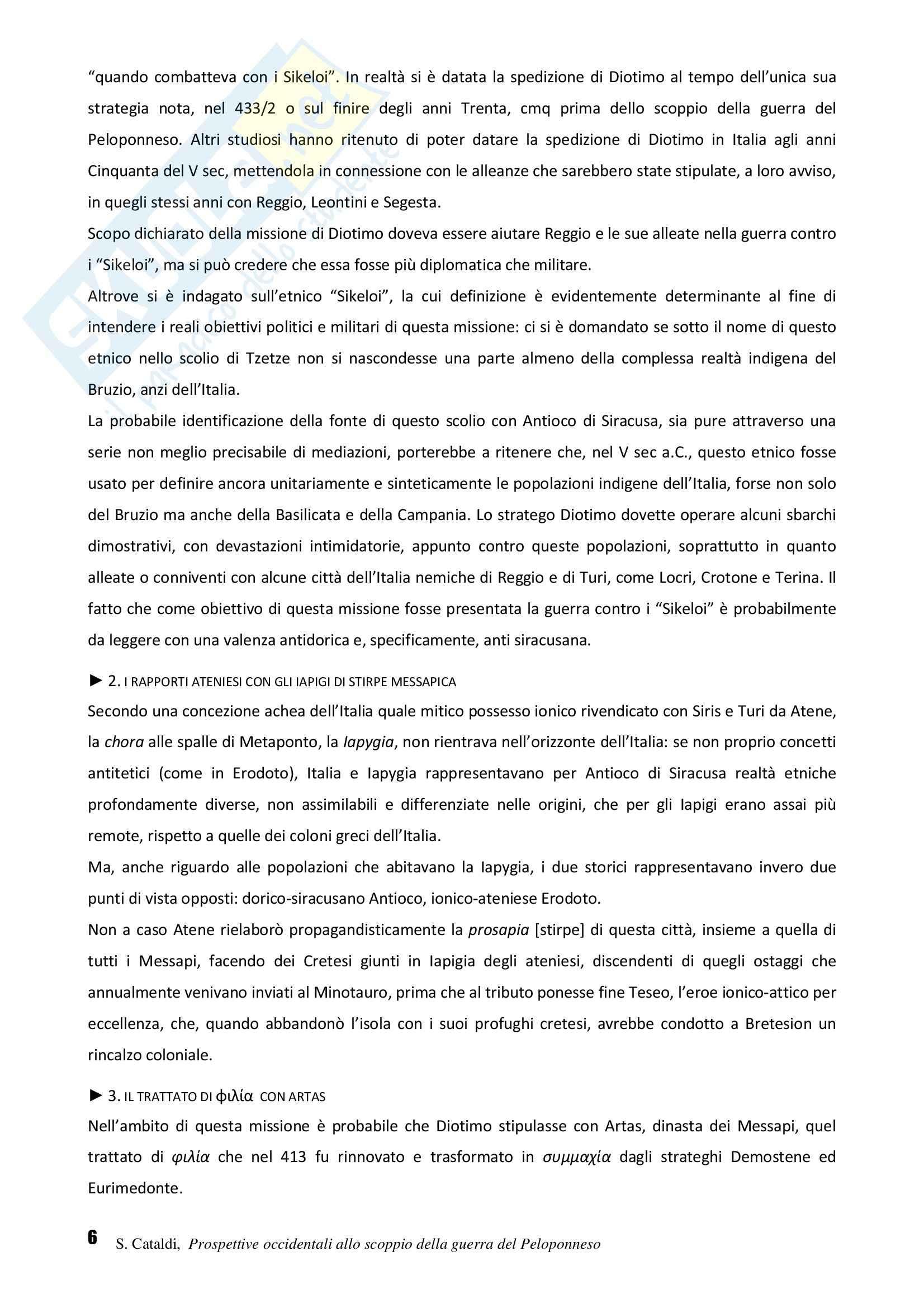 Riassunto esame Storia greca, prof. Cataldi, libro consigliato Prospettive occidentali allo scoppio della guerra del Peloponneso, Cataldi Pag. 6