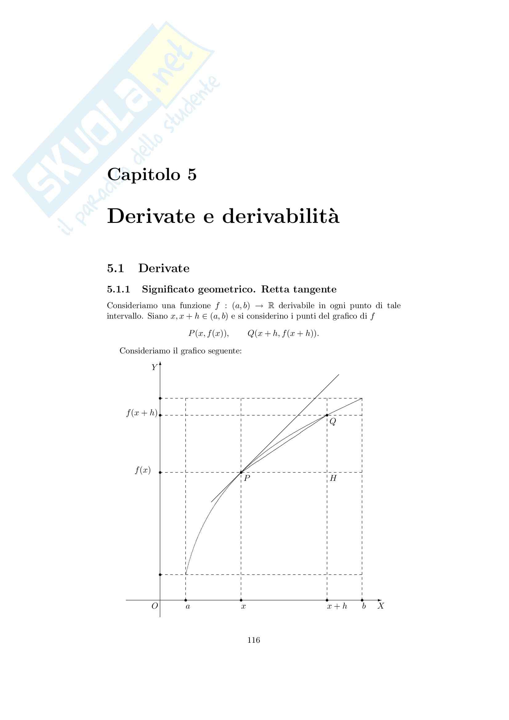 Analisi matematica 1 - Note ed esercizi svolti su derivate e derivabilità