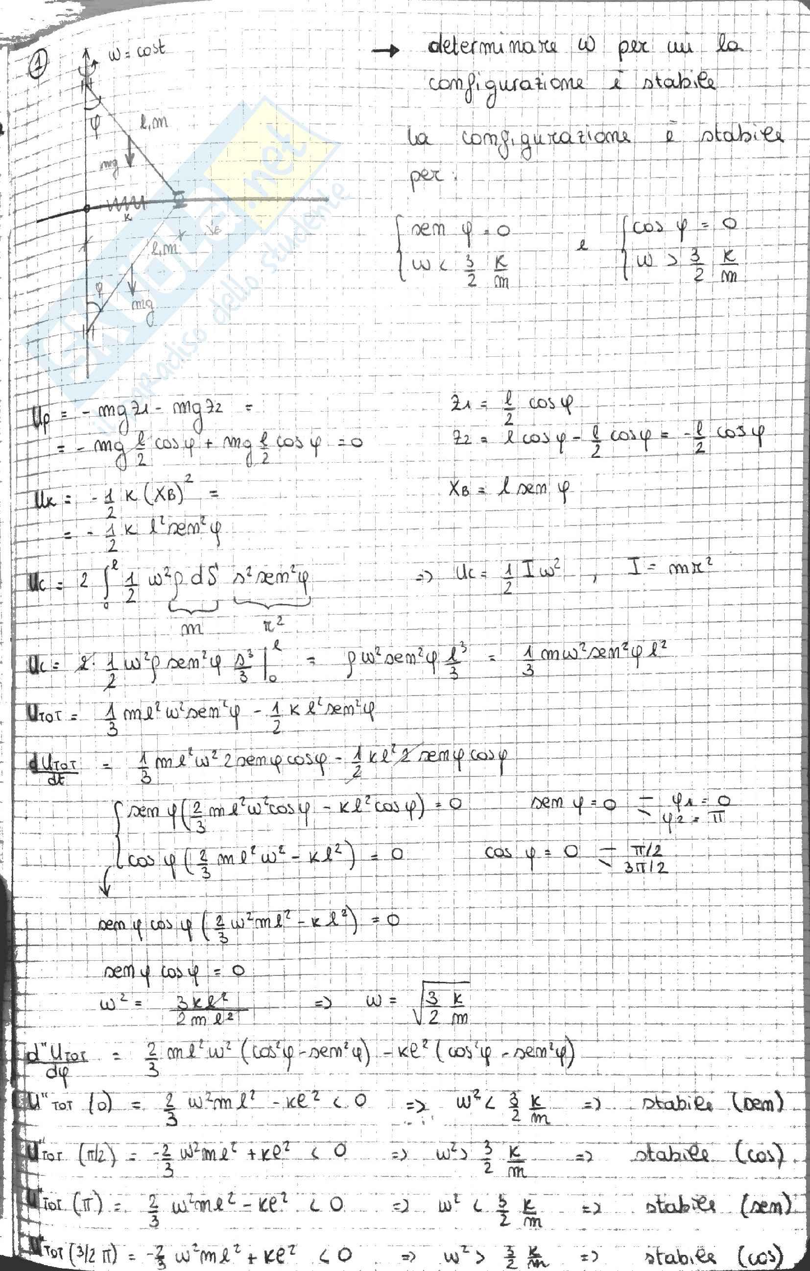 Esercizi Meccanica Razionale - Dinamica