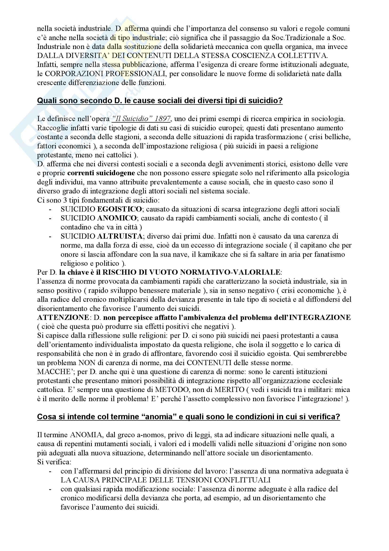 Il pensiero sociologico, Crespi - Risposte a domande finali Pag. 2