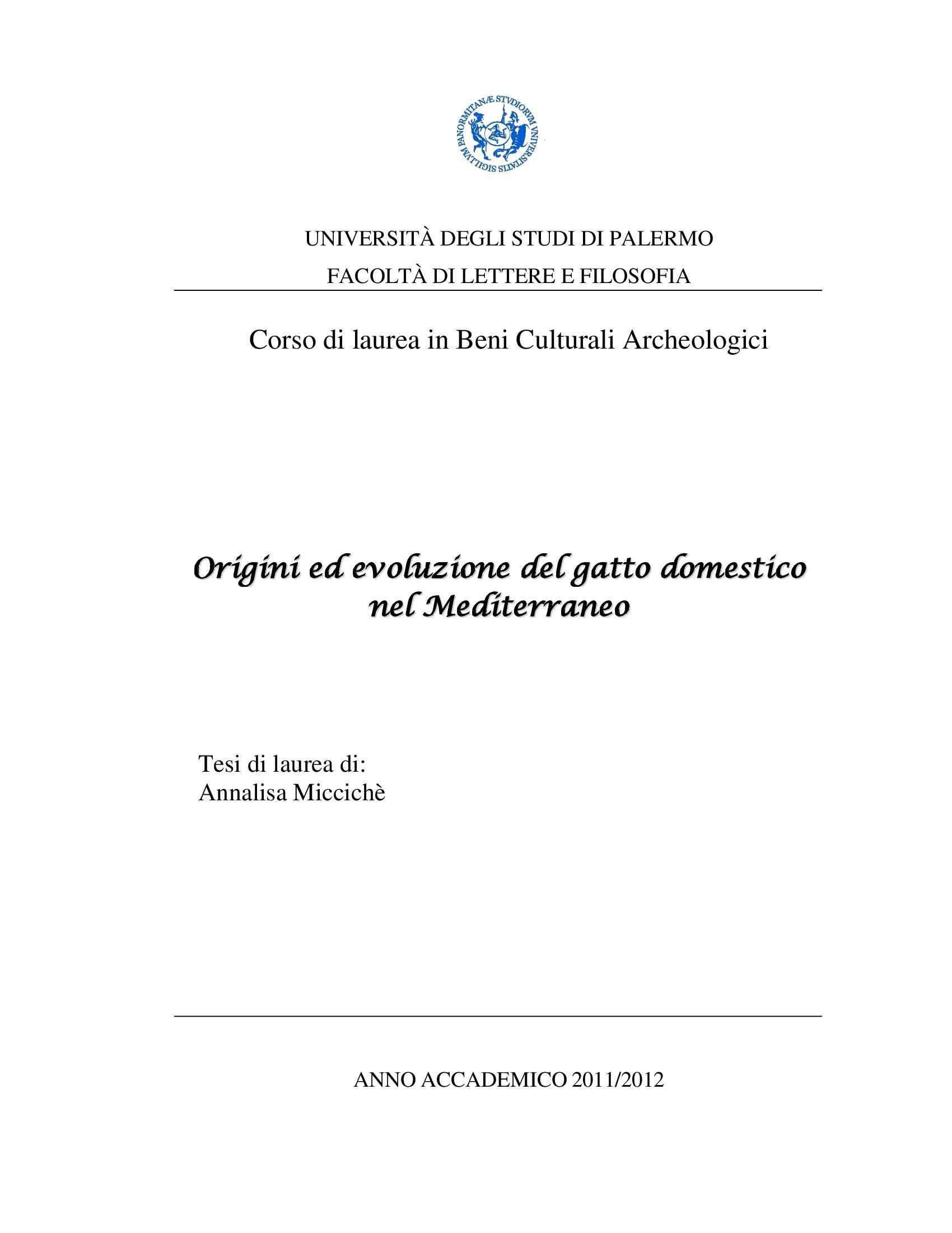 Tesi - Origini ed evoluzione del gatto domestico nel Mediterraneo