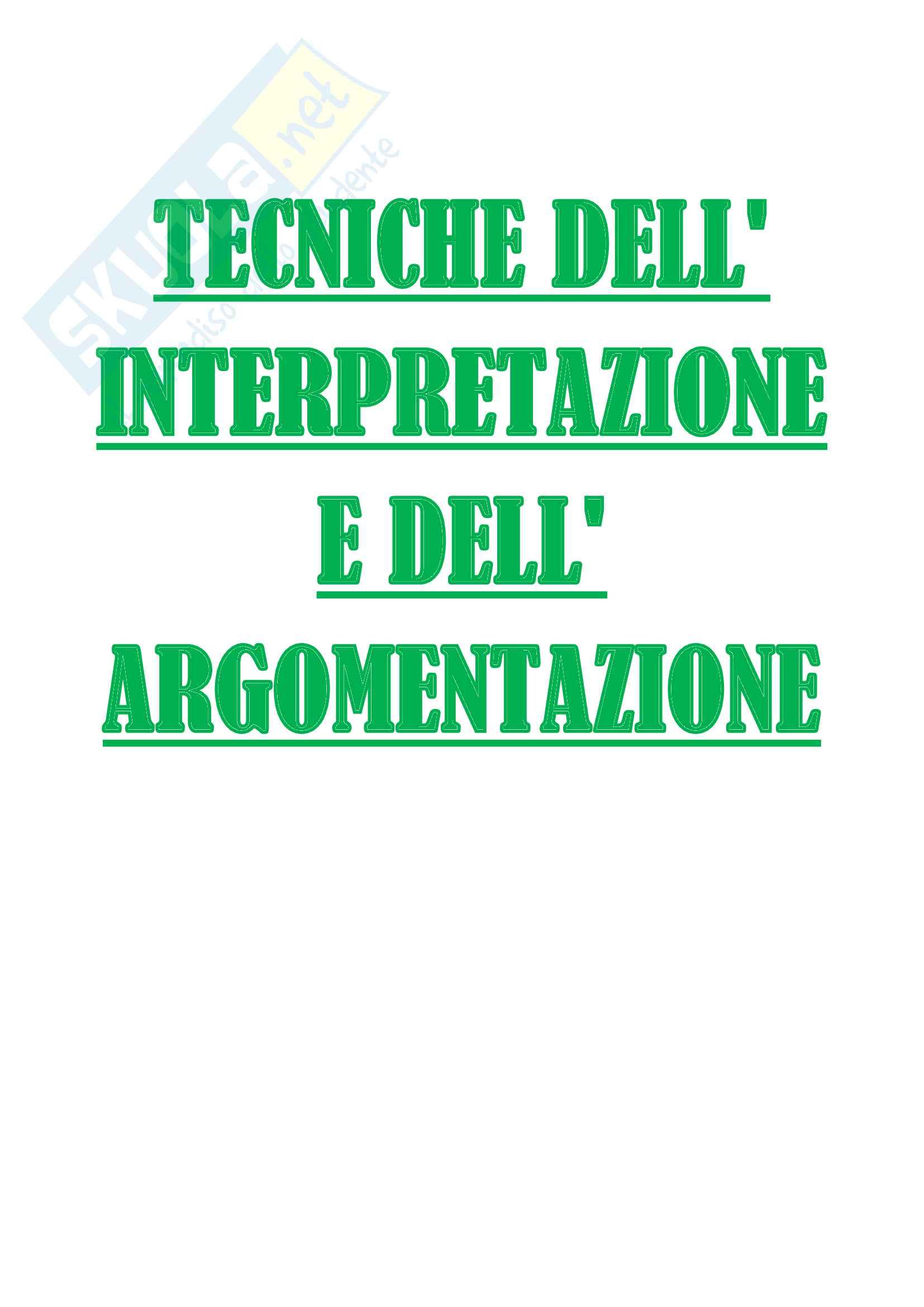 Appunti completi lezioni del Prof. Ratti di Tecniche dell'interpretazione e dell'argomentazione