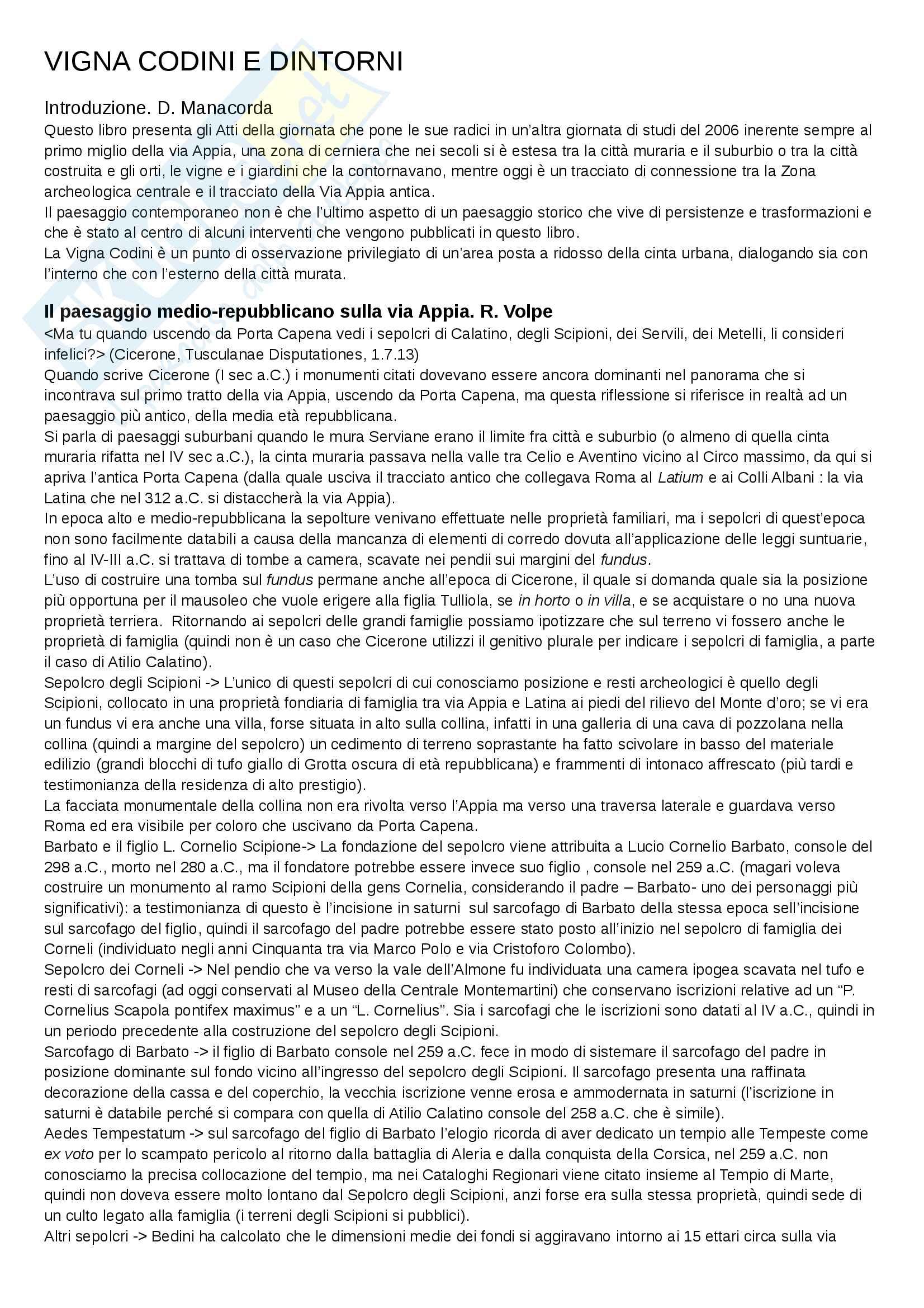 Riassunto esame metodologia della ricerca archeologica, prof. Manacorda, libro consigliato Vigna Codini e dintorni, Manacorda