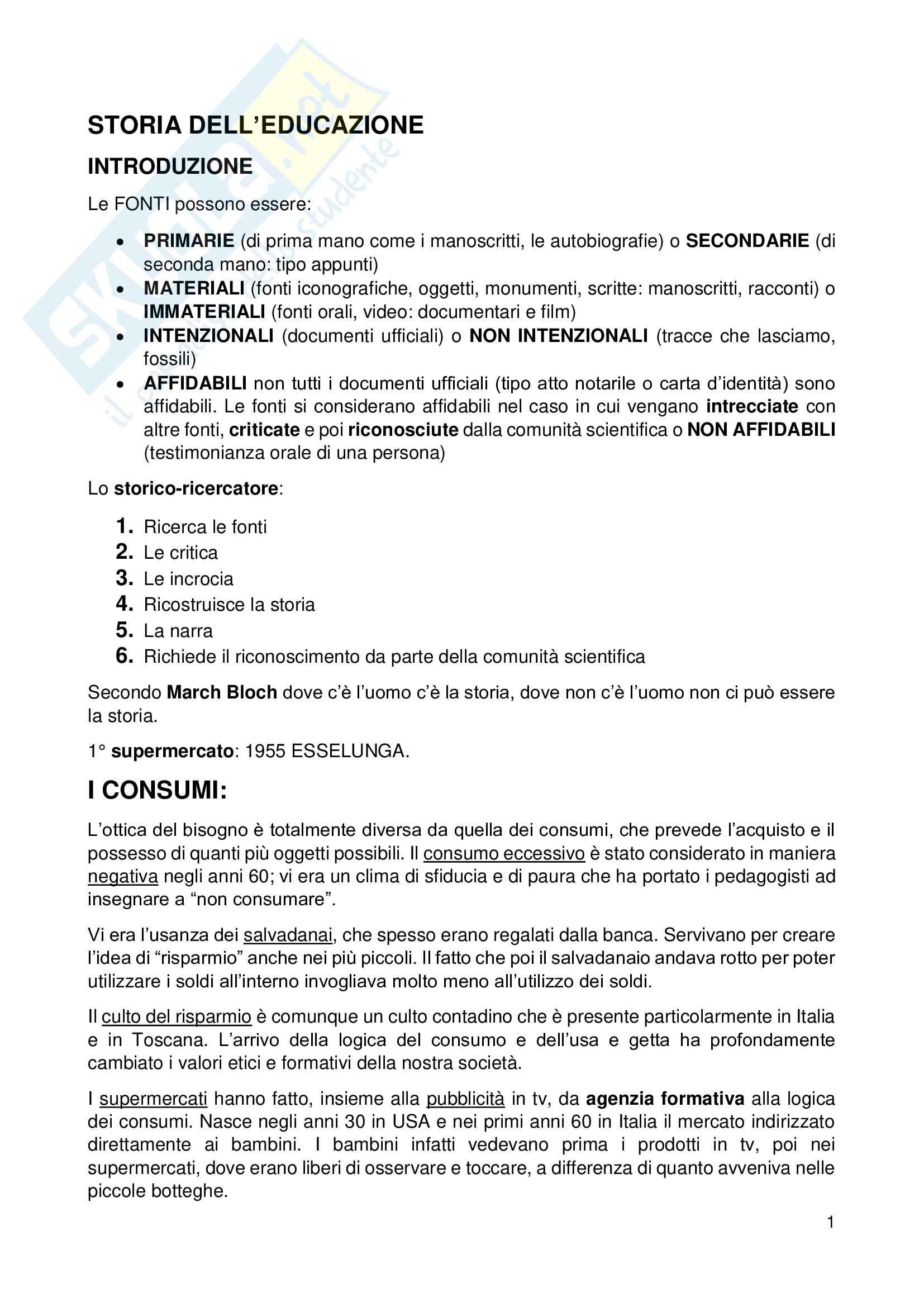 Appunti Storia dell'educazione - Oliviero Pag. 1
