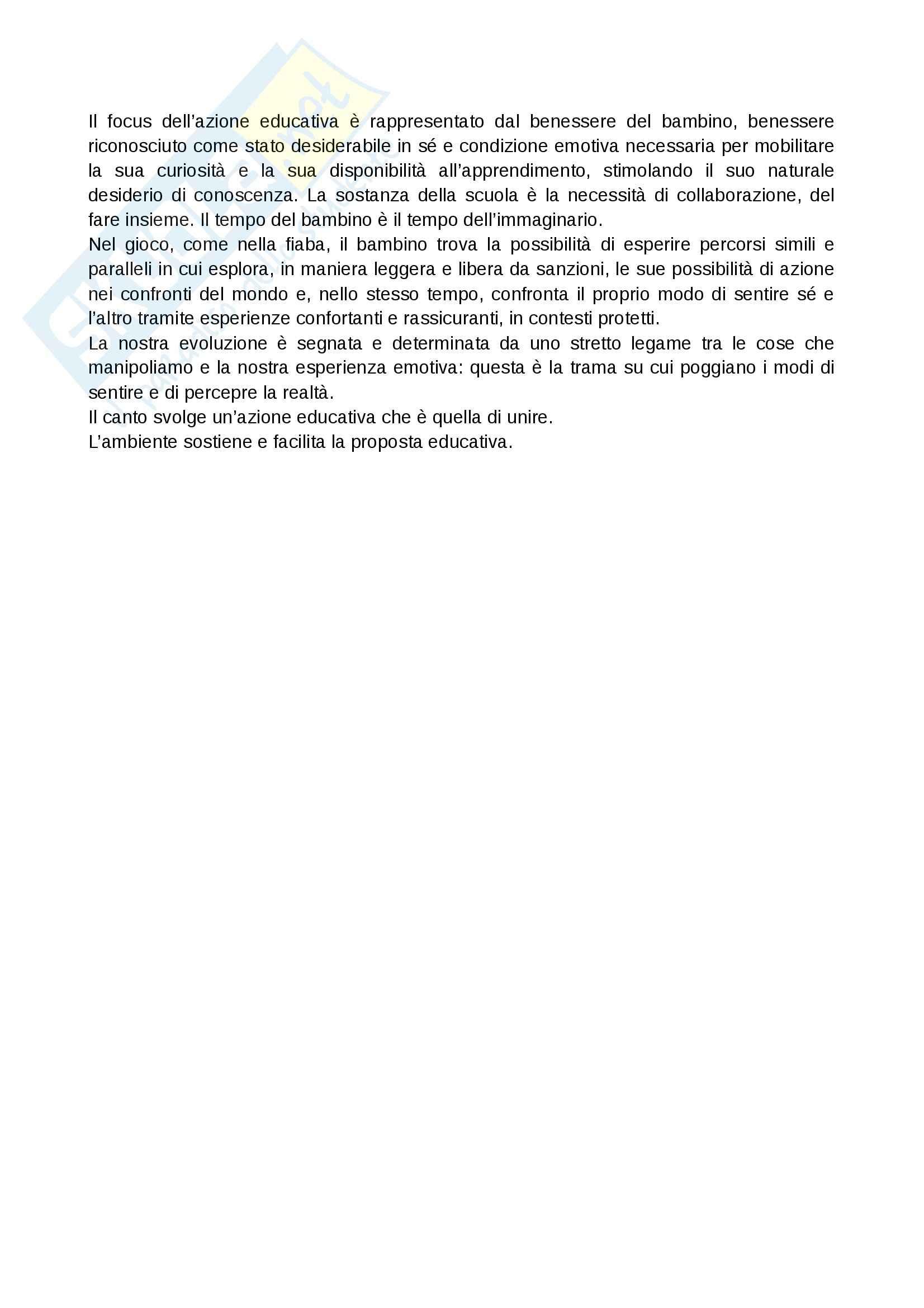 Riassunto esame Teorie e metodologie della valutazione, prof. Franceschini, libro consigliato Il curricolo nella scuola dell'infanzia Pag. 11