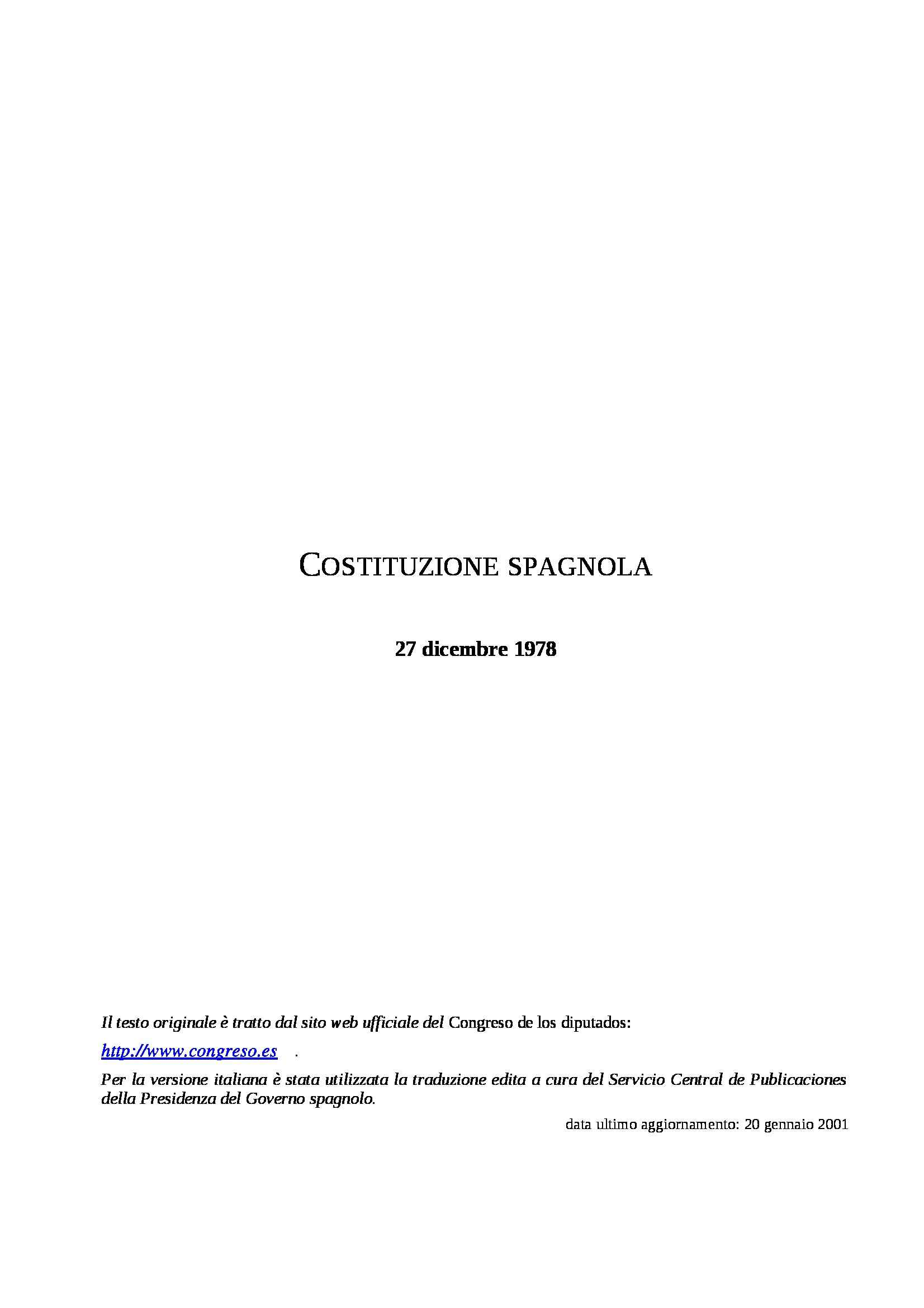 Spagna - Costituzione 1978