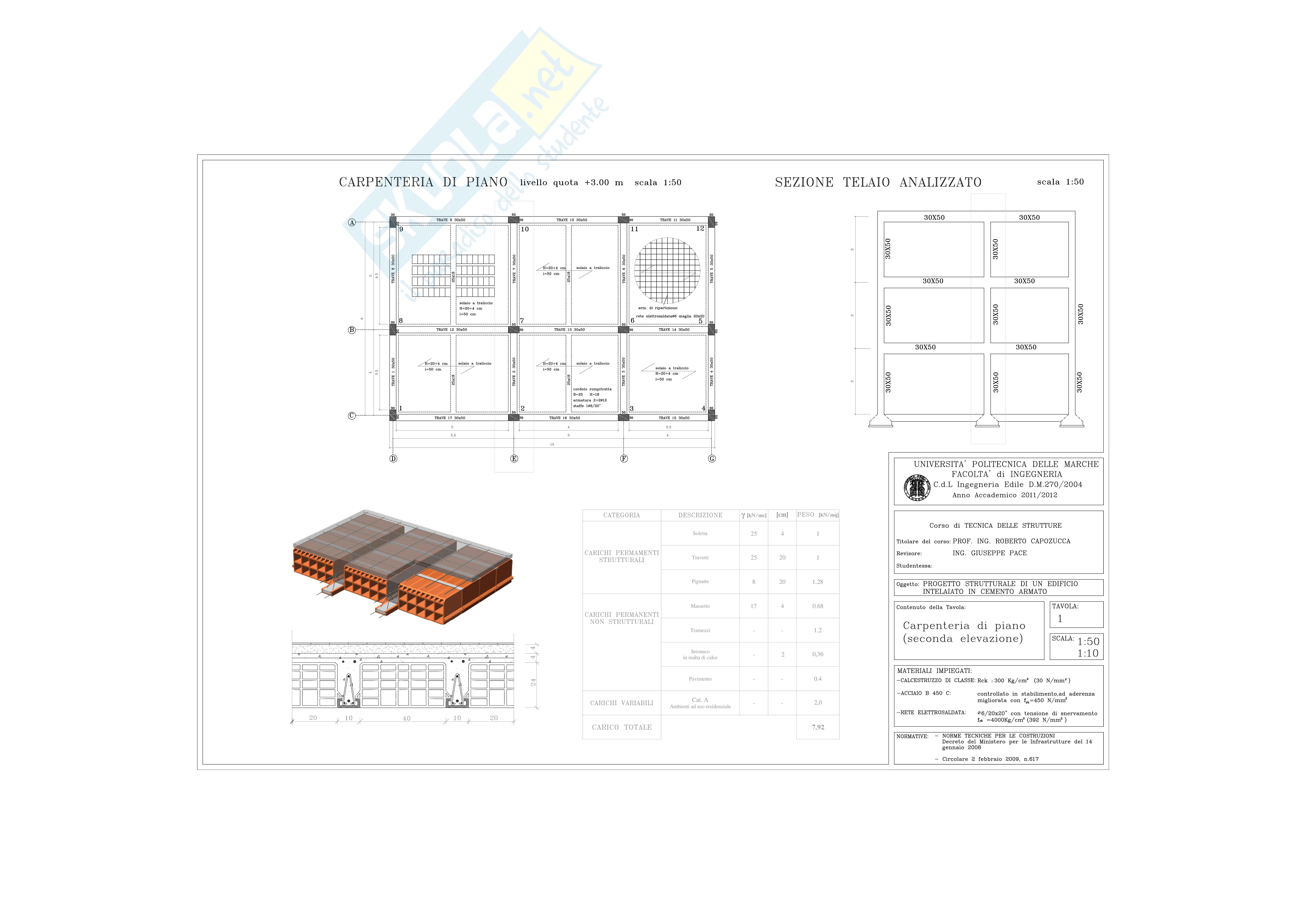 Tecnica delle strutture - tavole della carpenteria di piano, solaio, pilastrata e trave