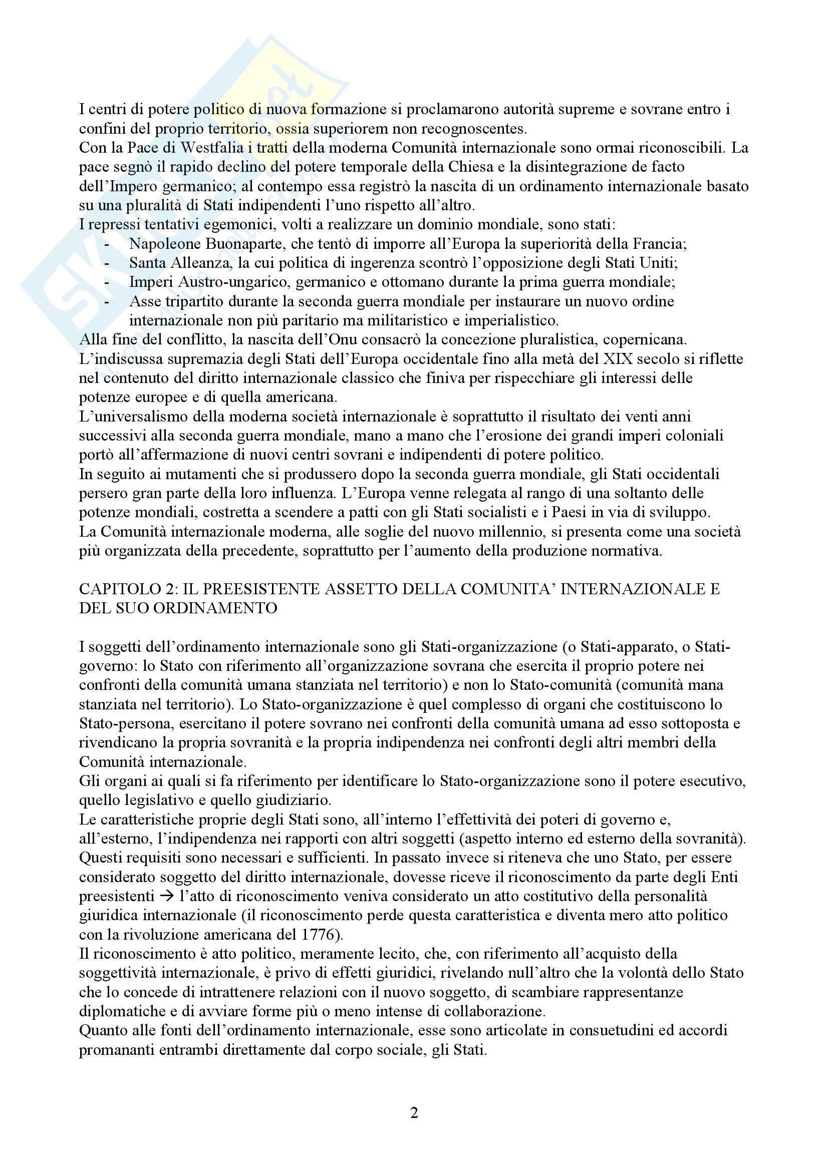 Riassunto esame Diritto Internazionale, prof. Vassalli, libro consigliato Diritto Internazionale, Leanza Pag. 2