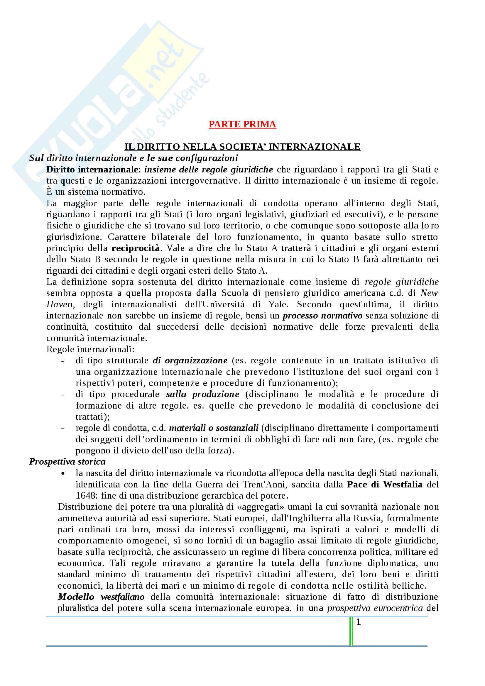 Riassunto esame Diritto Internazionale, prof. Tanzi, libro consigliato Introduzione al Diritto Internazionale Contemporaneo, Tanzi Pag. 1