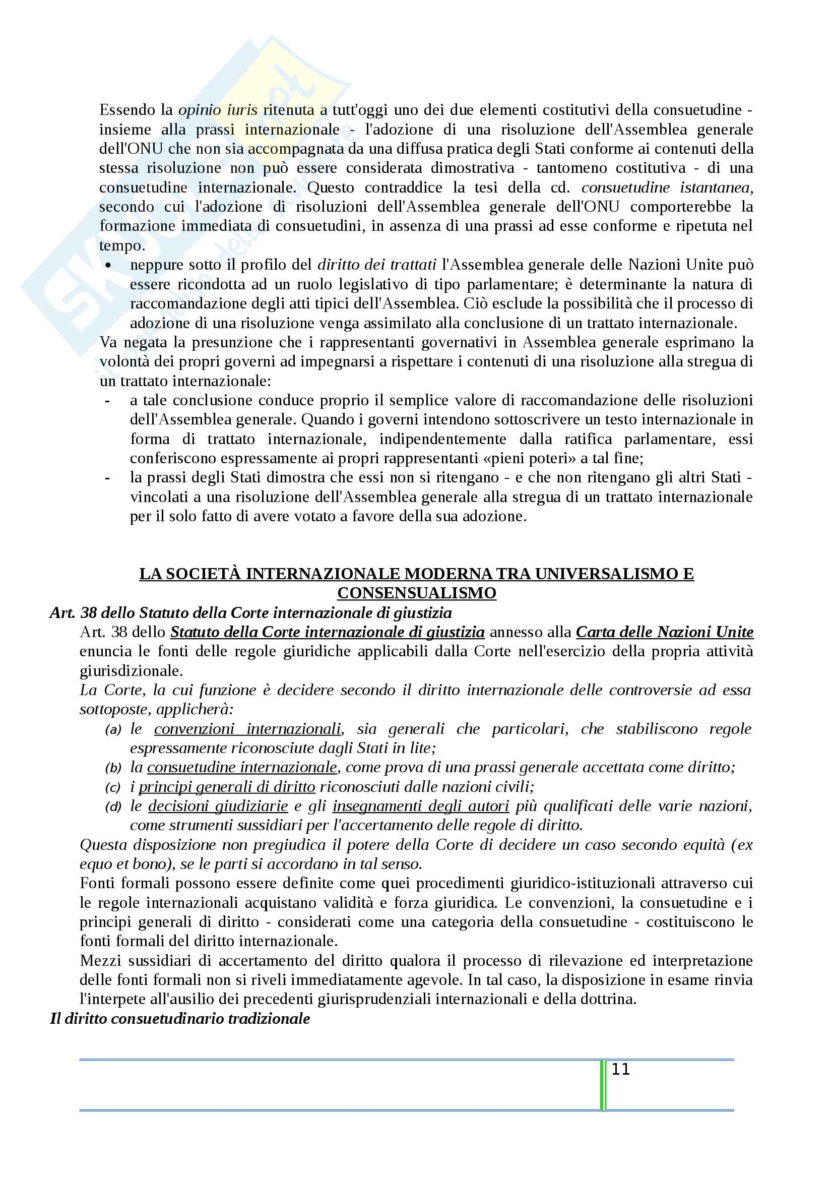 Riassunto esame Diritto Internazionale, prof. Tanzi, libro consigliato Introduzione al Diritto Internazionale Contemporaneo, Tanzi Pag. 11