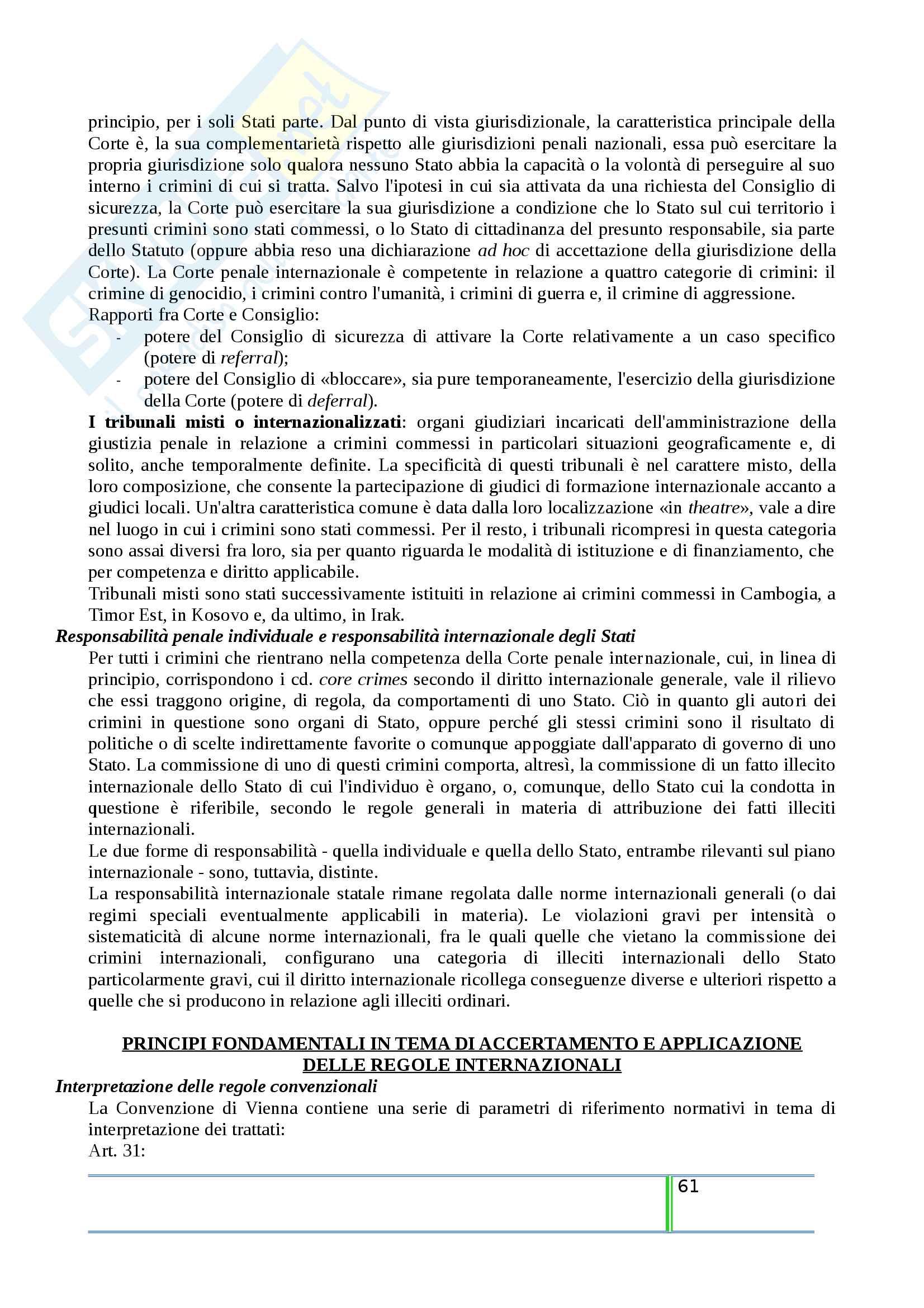 Riassunto esame Diritto Internazionale, prof. Tanzi, libro consigliato Introduzione al Diritto Internazionale Contemporaneo, Tanzi Pag. 61
