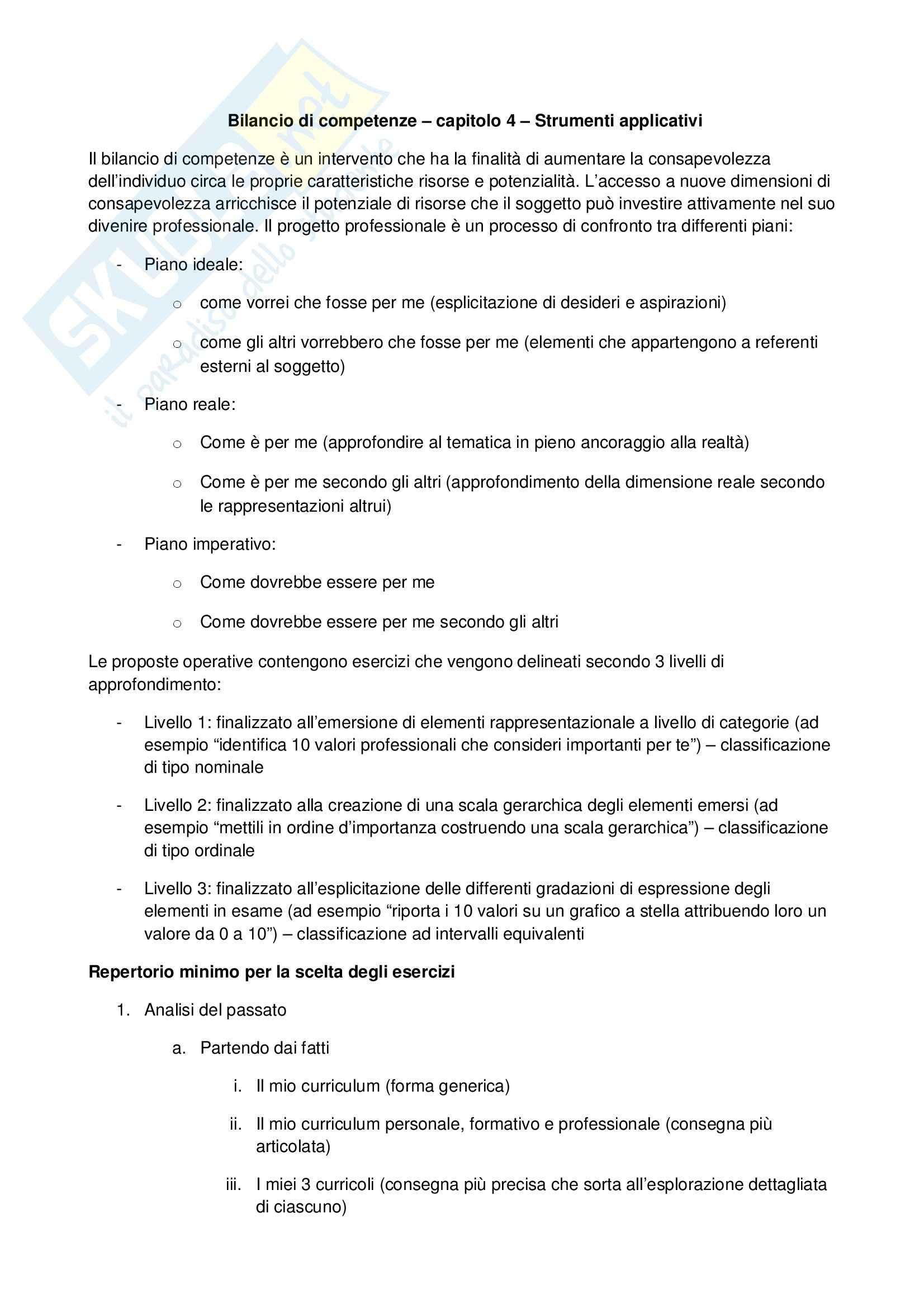 Psicologia dell'orientamento scolastico e professionale – Bilancio competenze