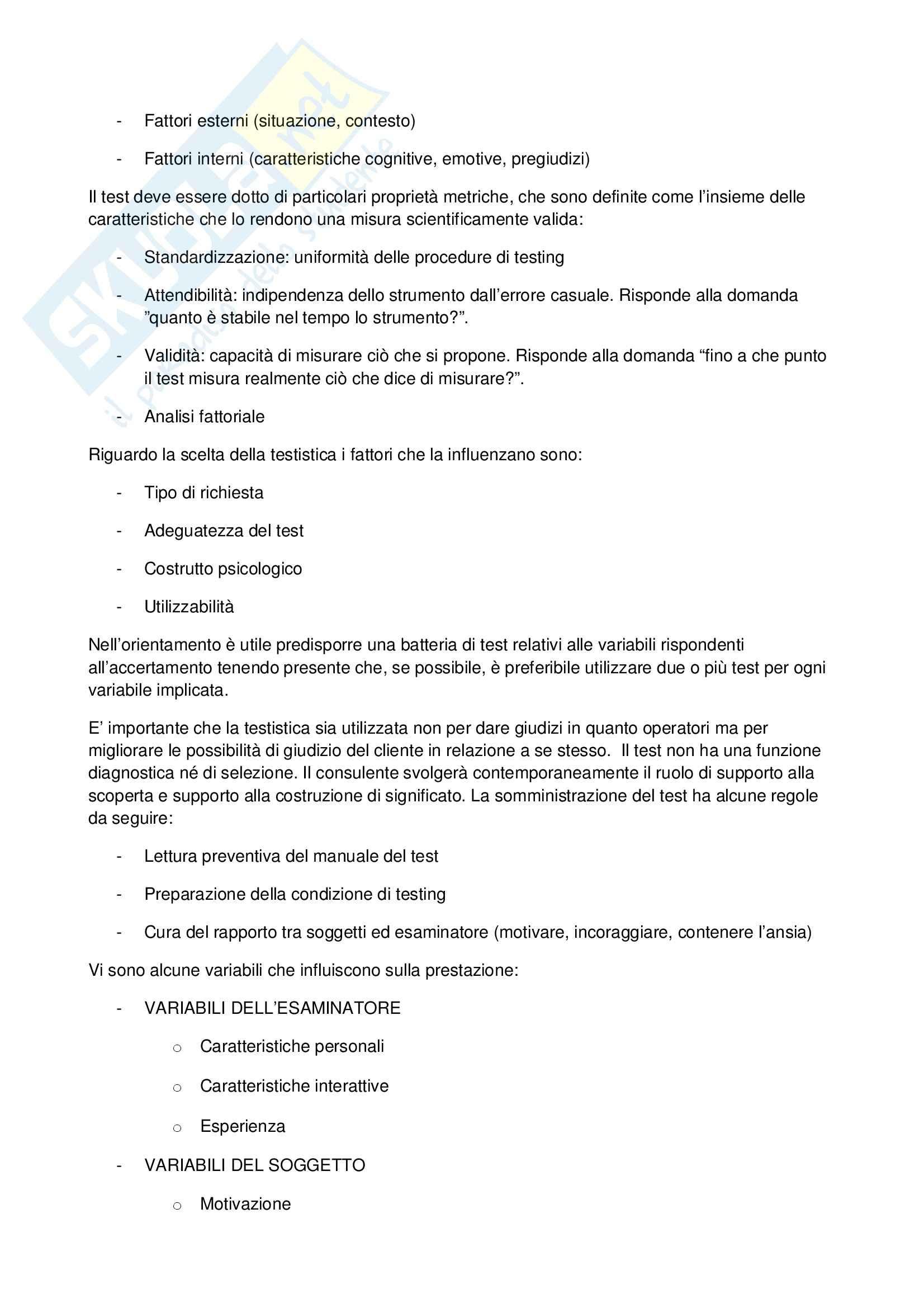 Psicologia dell'orientamento scolastico e professionale – Bilancio competenze Pag. 6