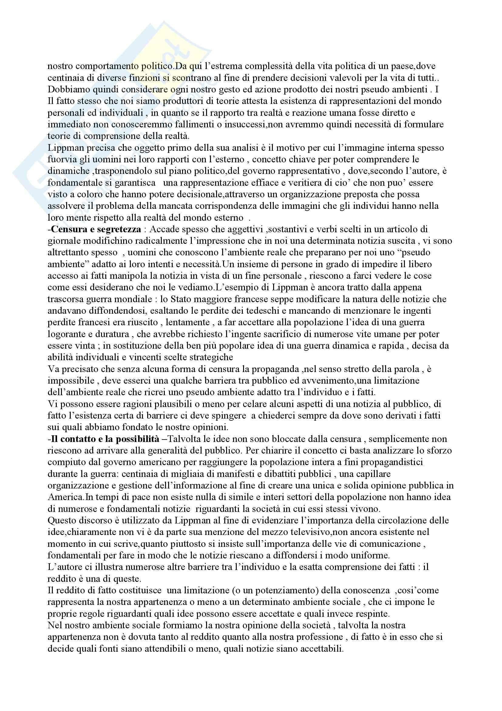 Riassunto esame comunicazione politica, prof. indefinito, libro consigliato Comunicazione politica, Lipmann Pag. 2