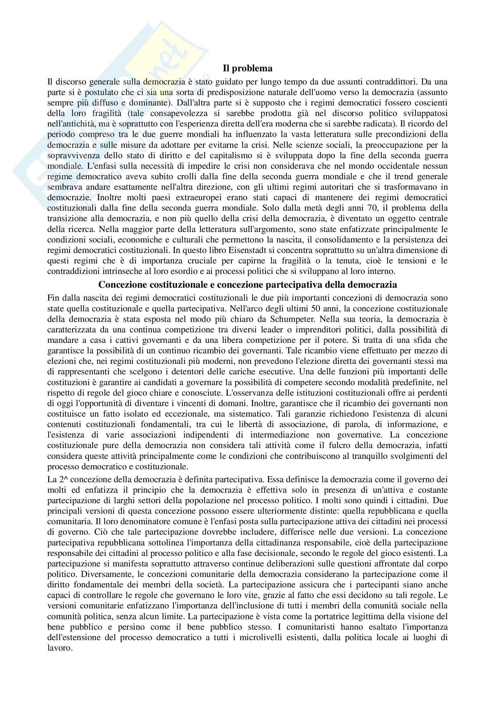 Riassunto esame Scienza politica, prof. Nevola, libro consigliato Paradossi della democrazia, Eisenstadt