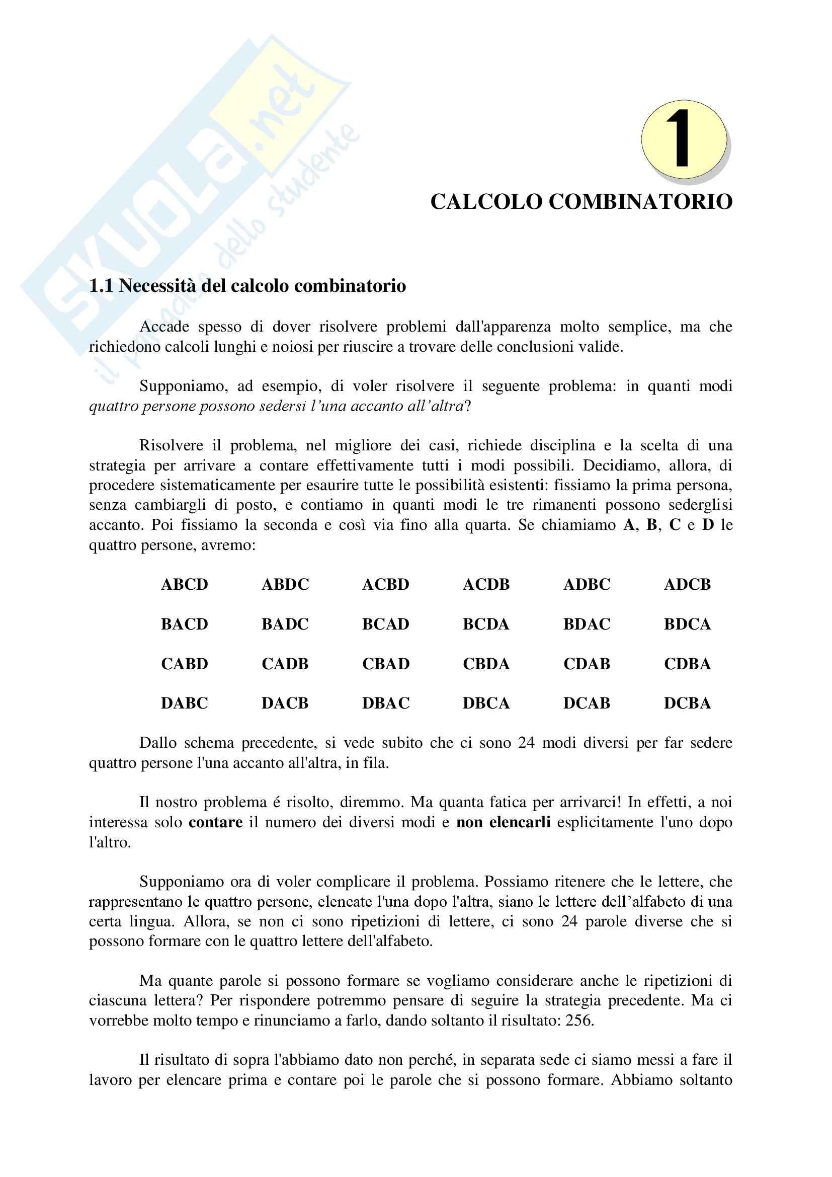 Statistica - calcolo combinatorio e probabilità - Appunti