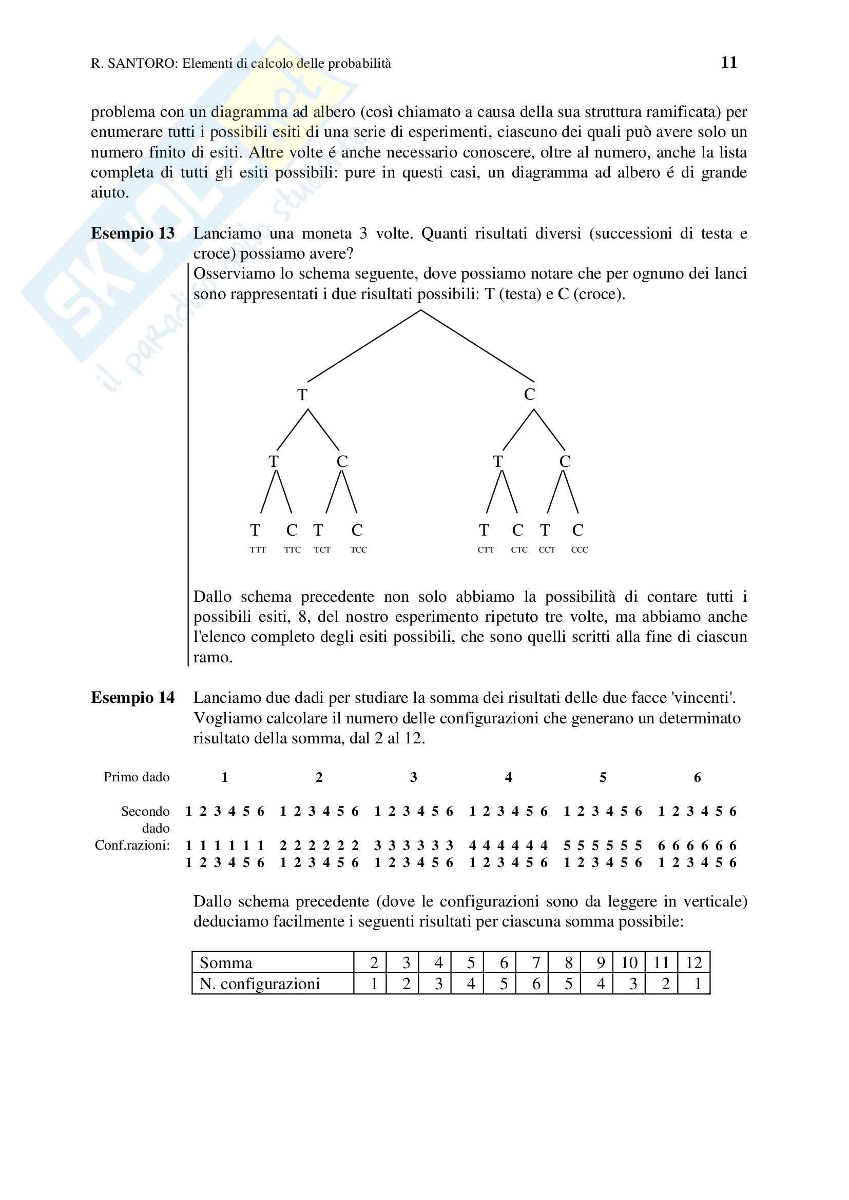 Statistica - calcolo combinatorio e probabilità - Appunti Pag. 11