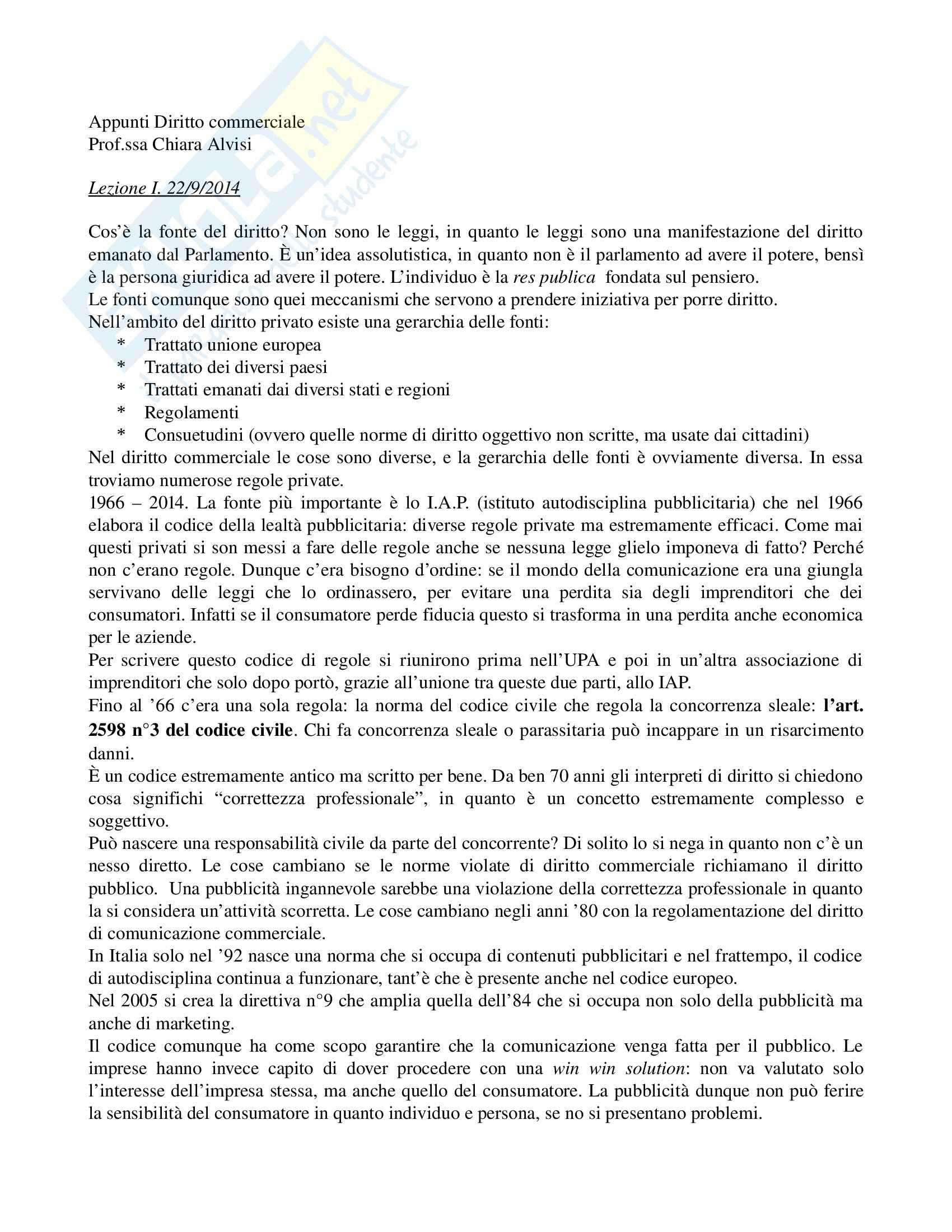 Appunti, Diritto della comunicazione commerciale