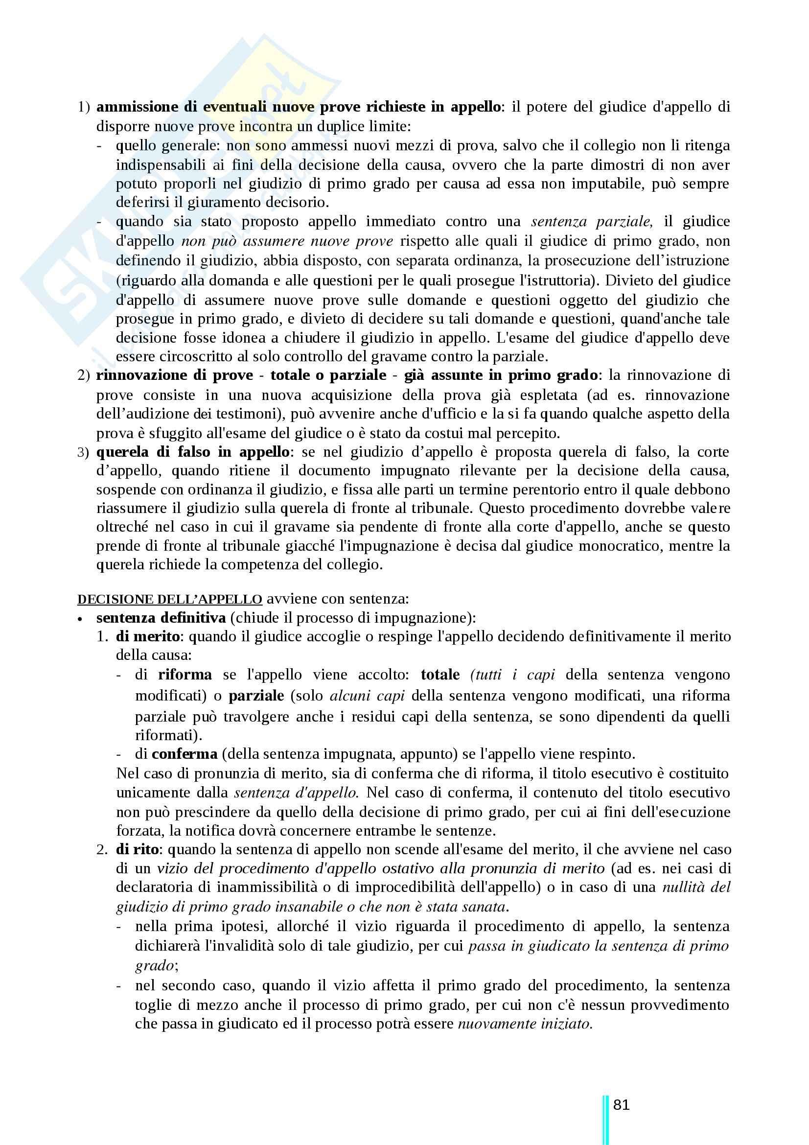 Riassunto esame Diritto processuale civile, prof. Ricci, libro consigliato Diritto processuale civile, secondo volume, Ricci Pag. 81