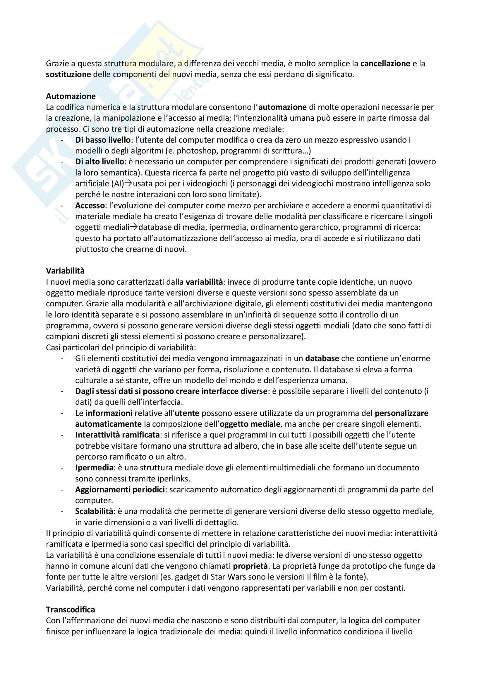 Riassunto esame Mass Media, New media e società delle reti, prof Pireddu, libro consigliato Il linguaggio dei nuovi media, Manovich Pag. 2