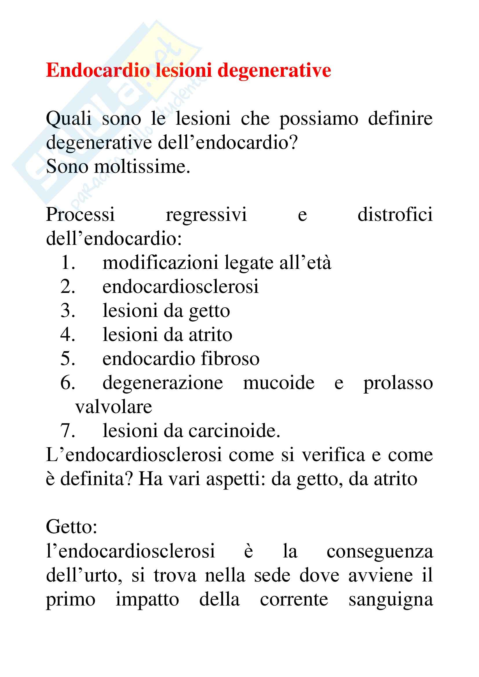 Anatomia patologica - endocardio lesioni degenerative