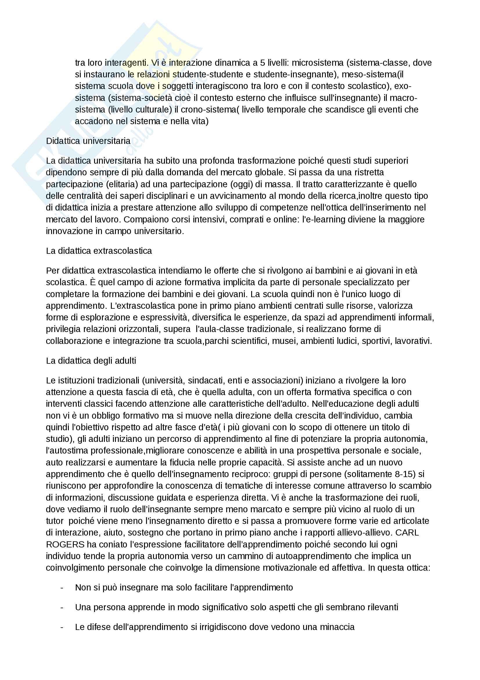 """Riassunto esame Didattica generale, docente prof.ssa Palomba, libro consigliato """"Fondamenti di didattica, teoria e prassi dei dispositivi formativi"""" (Bonaiuti, Calvani, Ranieri) Pag. 21"""