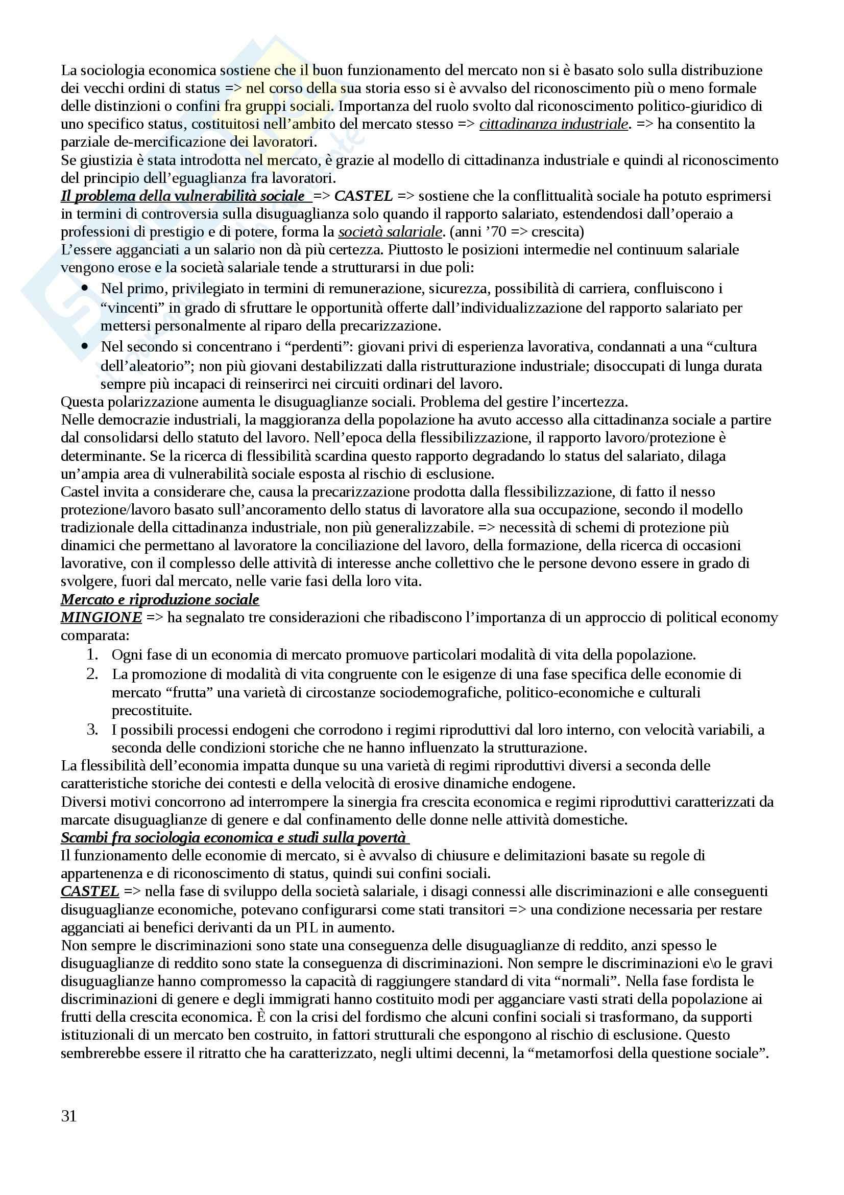 Riassunto esame Sociologia del lavoro, prof. Rosita, libro consigliato La sociologia economica contemporanea, Marino, Regini Pag. 31